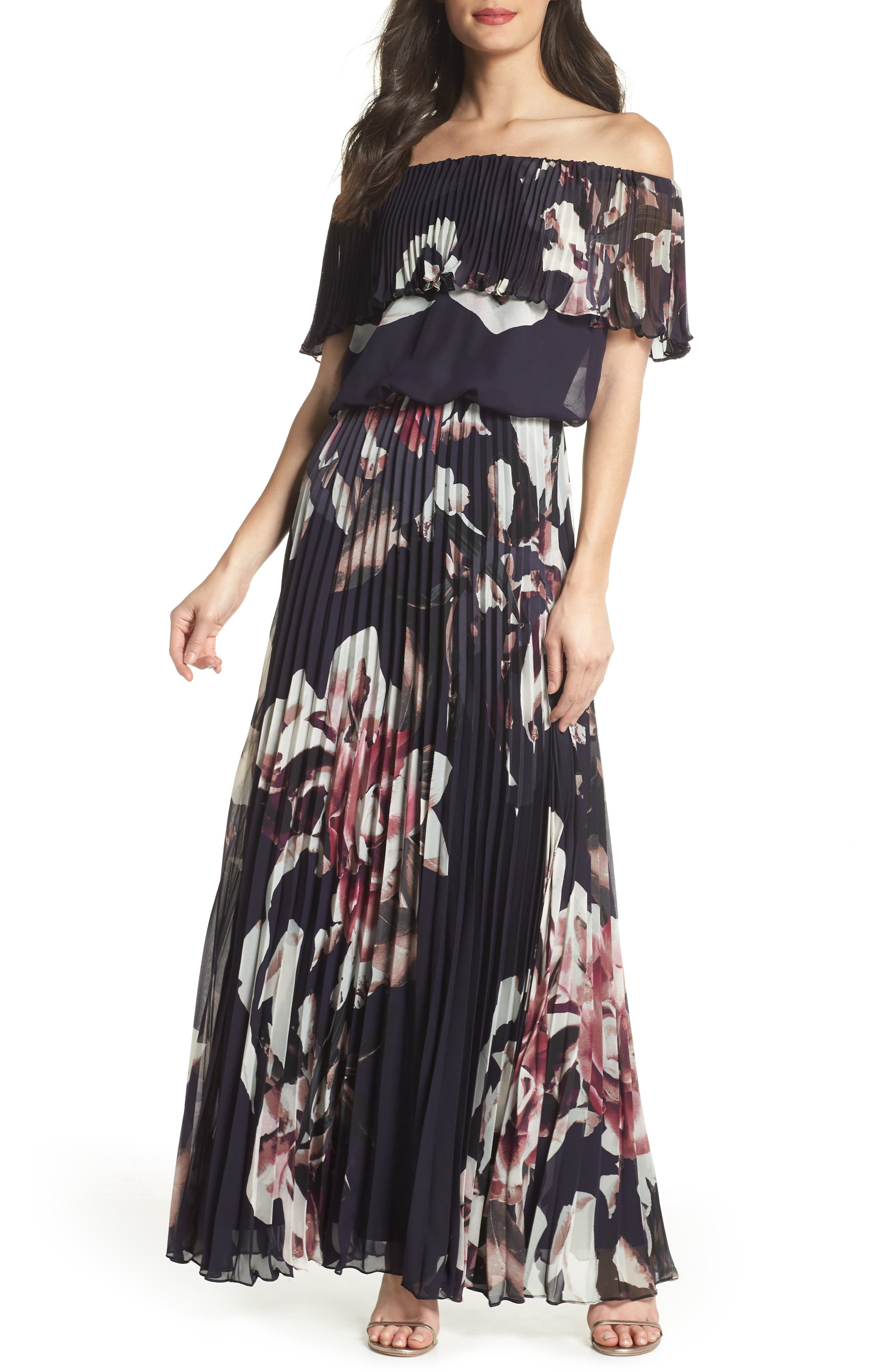 Off the Shoulder Ruffle Gown,                             Main thumbnail 1, color,                             Navy/ Pink