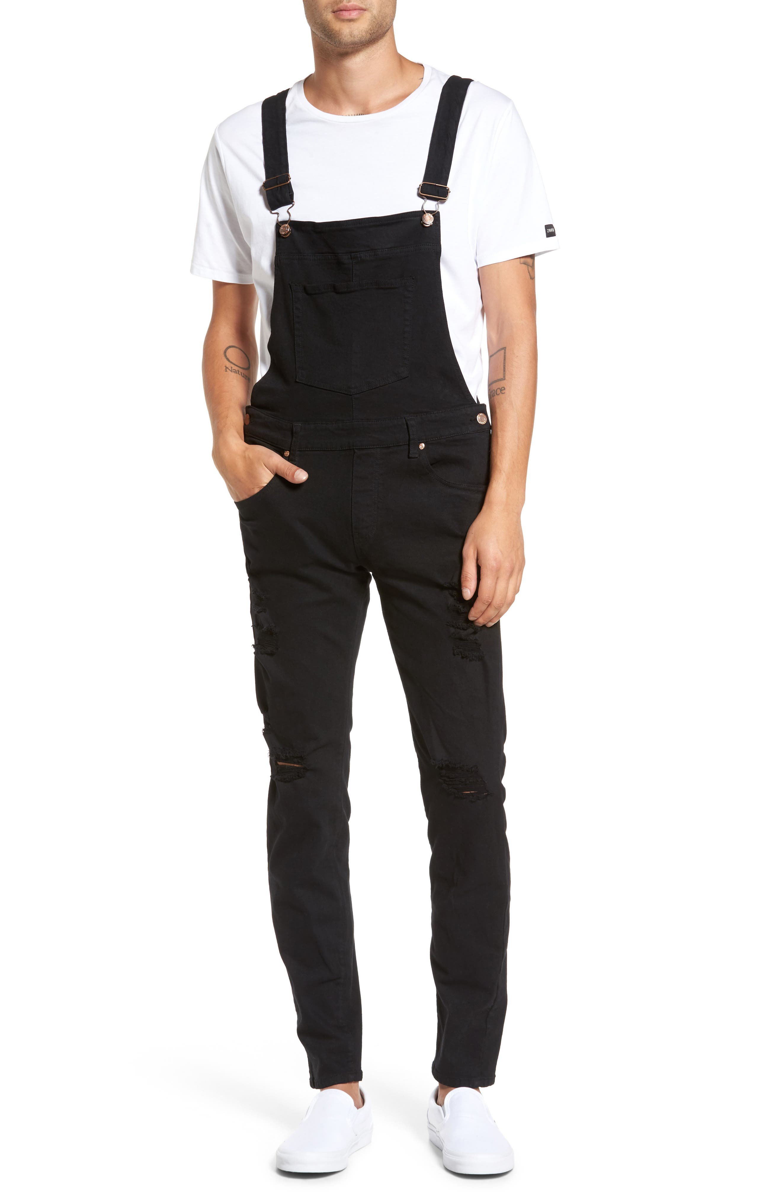 Main Image - Dr. Denim Supply Co. Ira Destroyed Skinny Fit Overalls