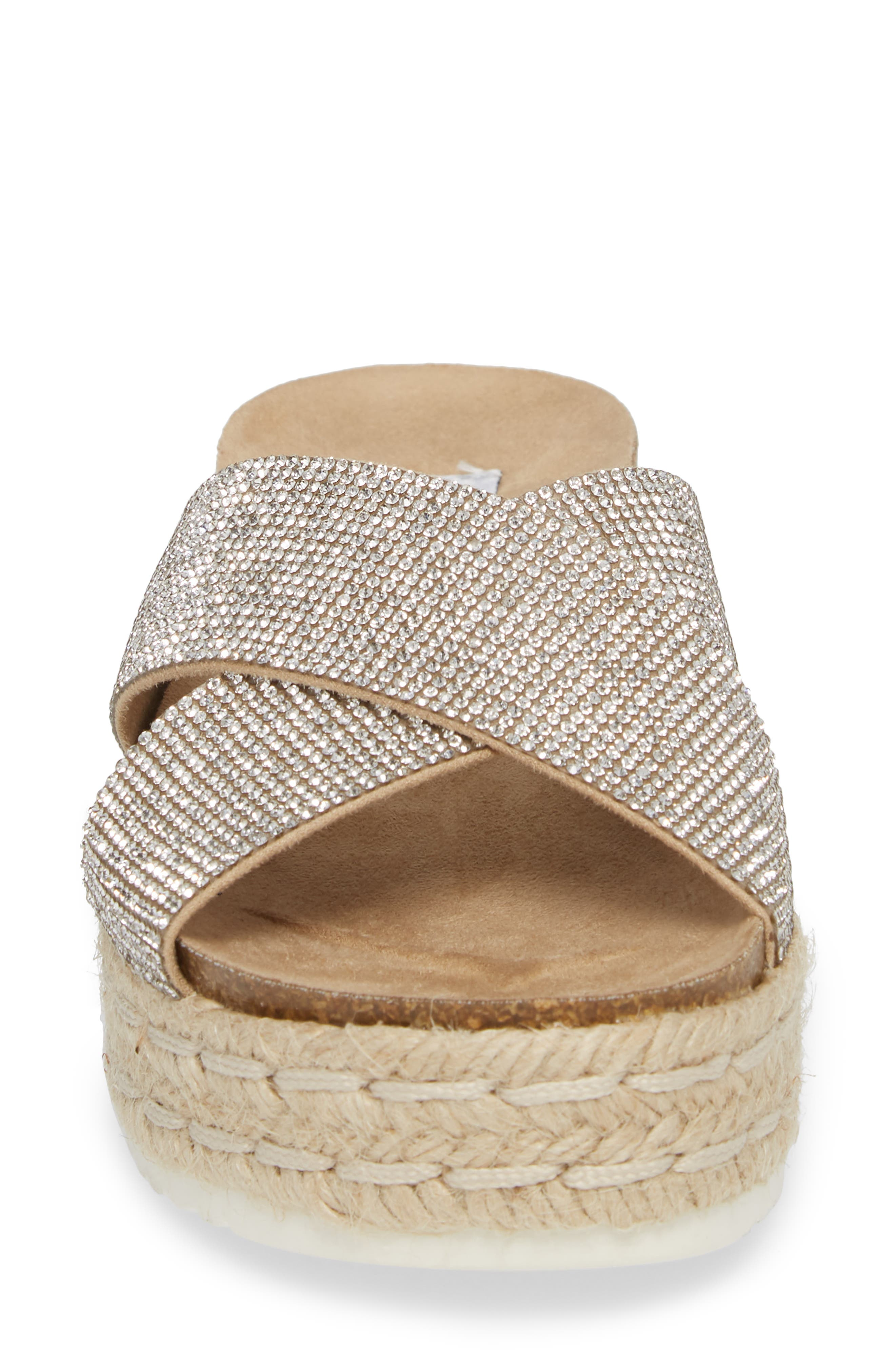 Arran-R Platform Espadrille Sandal,                             Alternate thumbnail 4, color,                             Silver