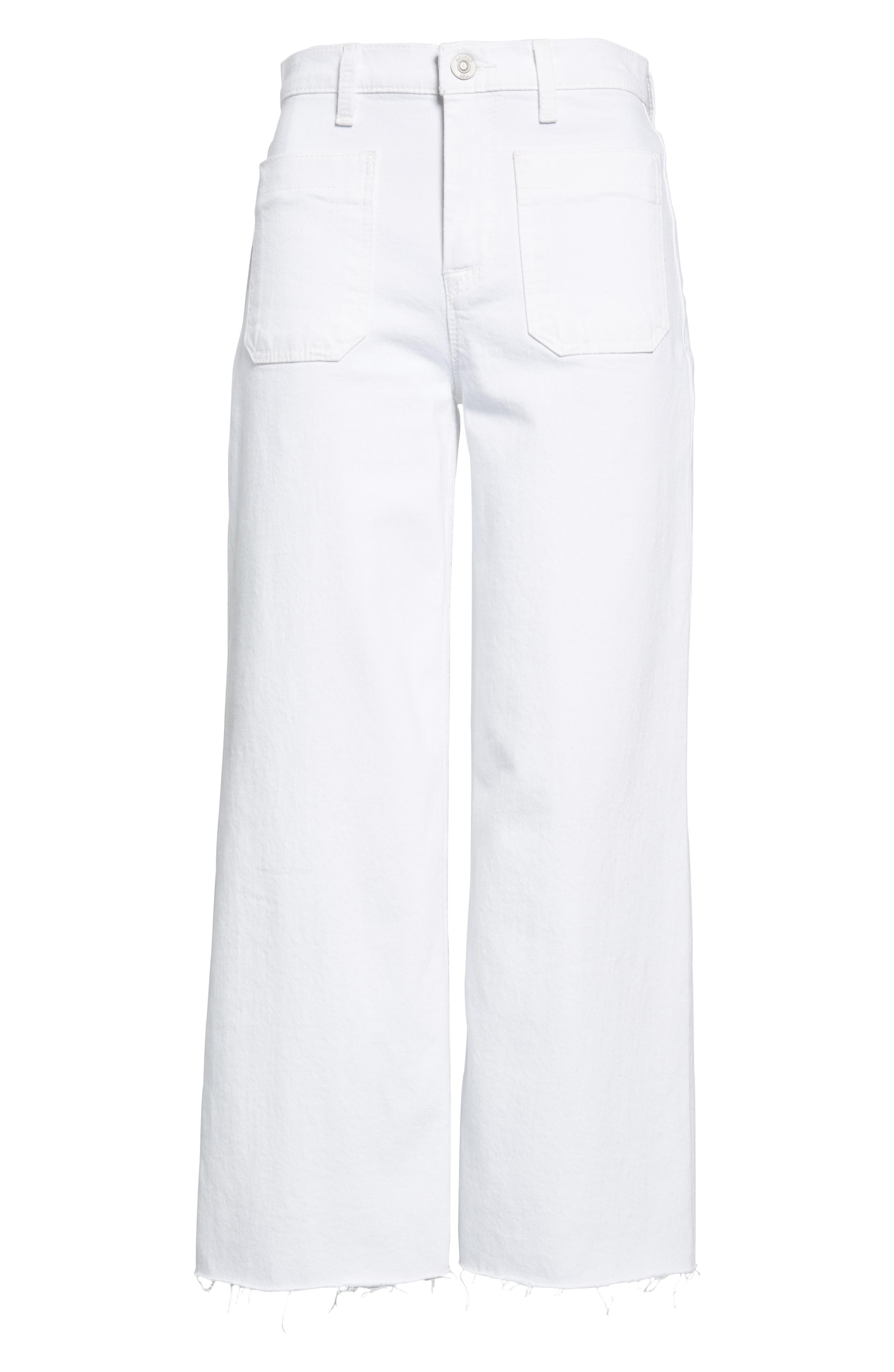 Holly High Waist Raw Hem Crop Wide Leg Jeans,                             Alternate thumbnail 6, color,                             White