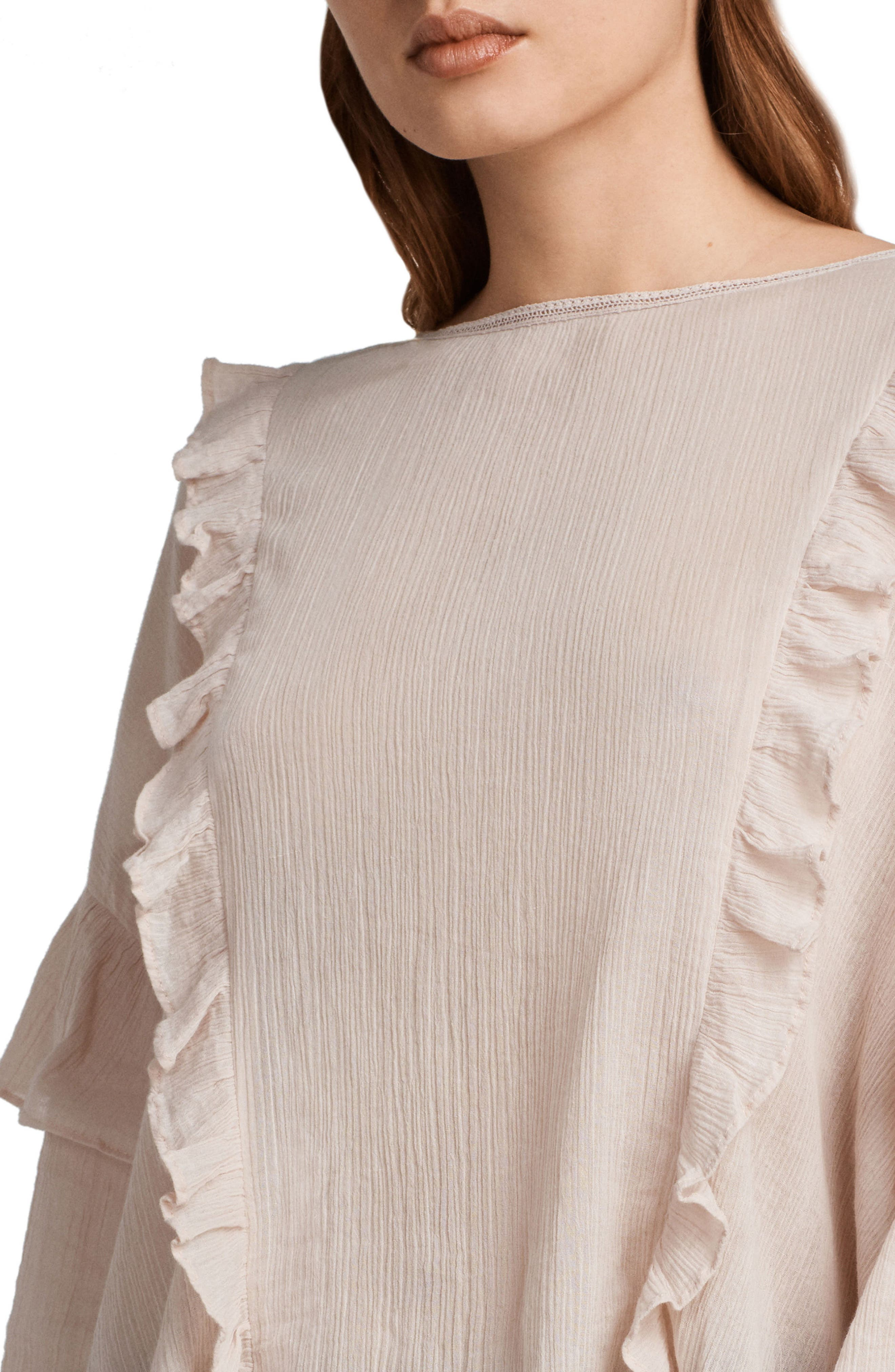 Isa Ruffle Top,                             Alternate thumbnail 4, color,                             Pale Pink
