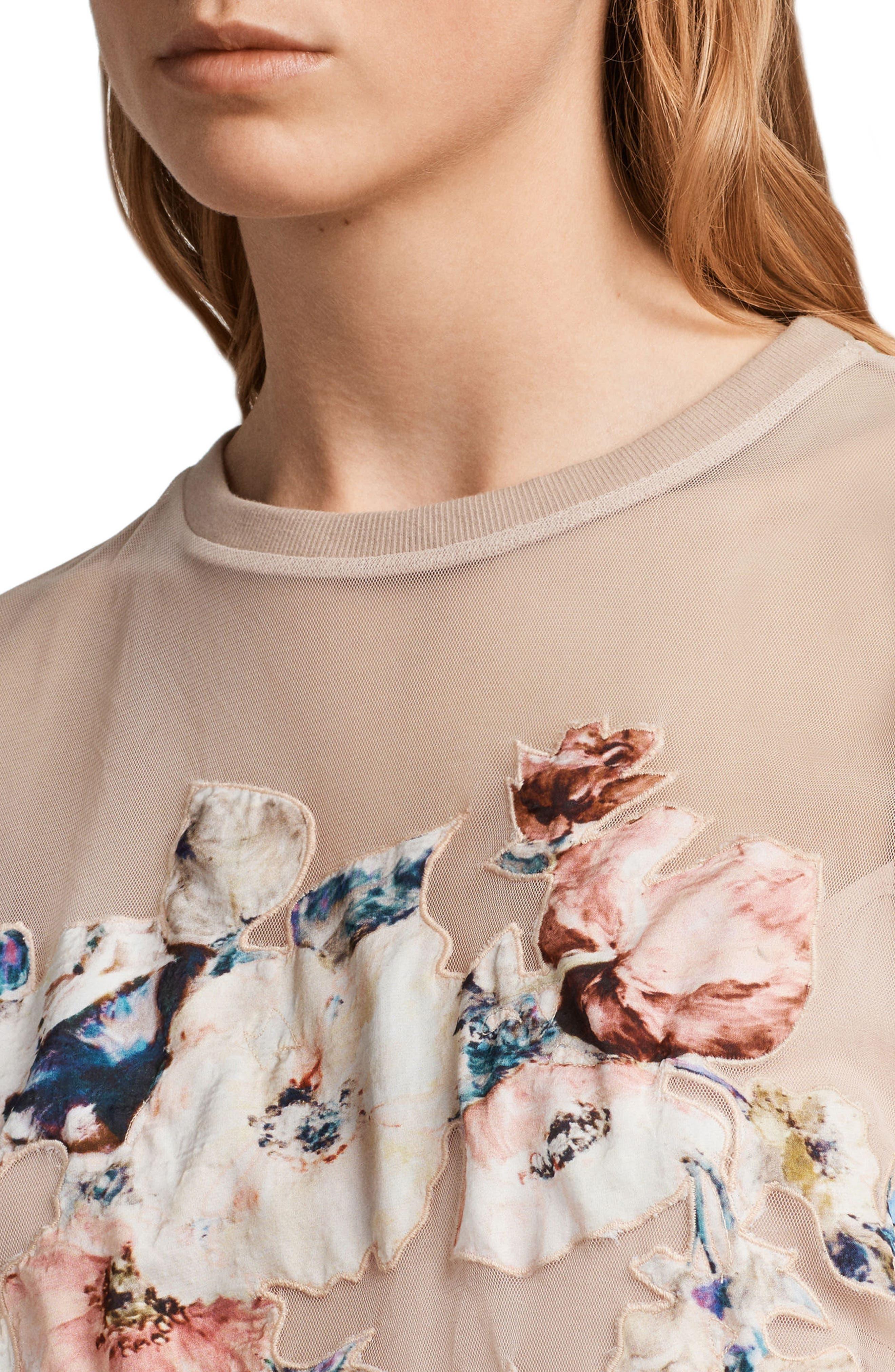 Kyla Floral Print Dress,                             Alternate thumbnail 4, color,                             Pale Pink