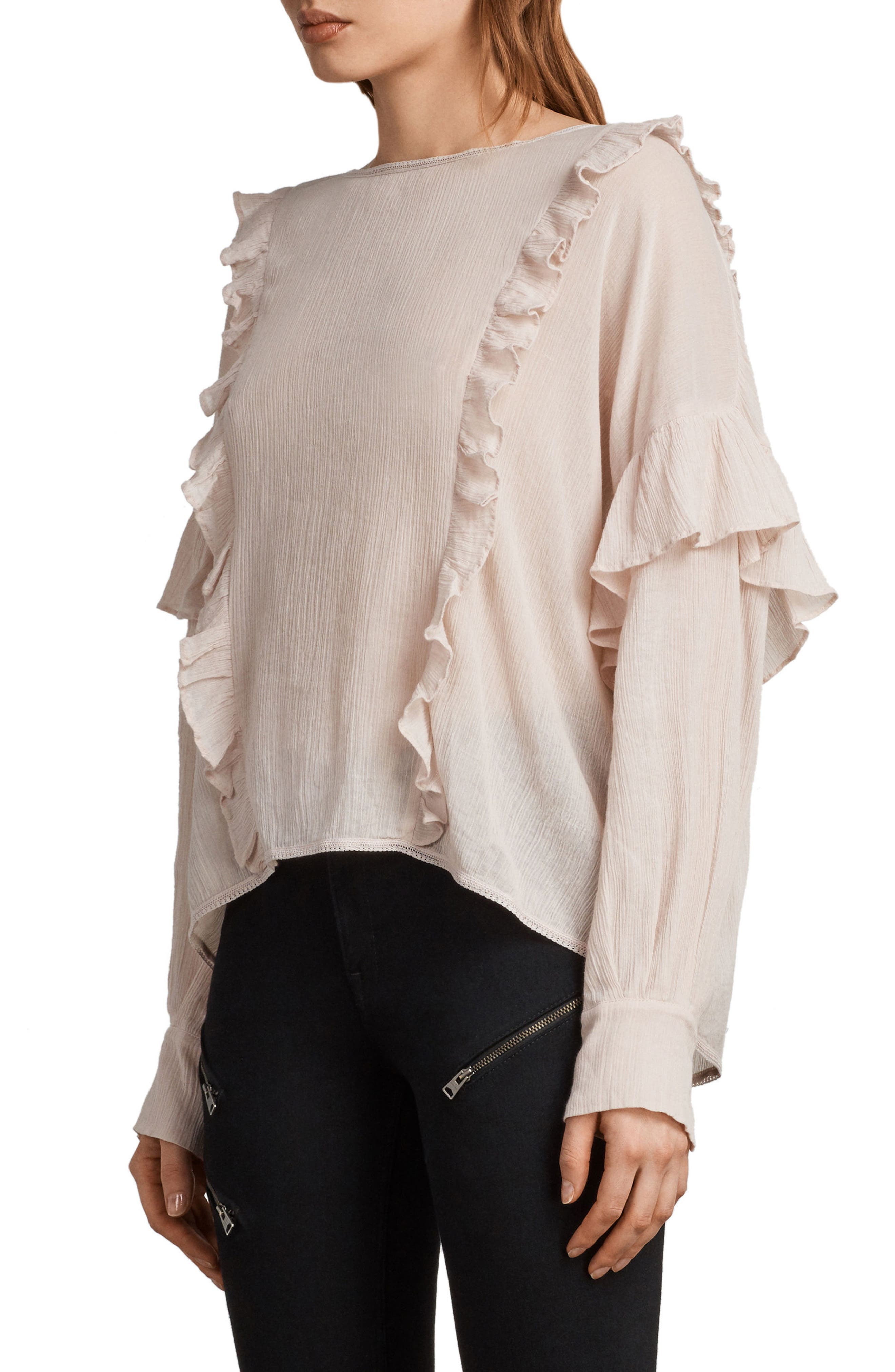 Isa Ruffle Top,                             Alternate thumbnail 3, color,                             Pale Pink