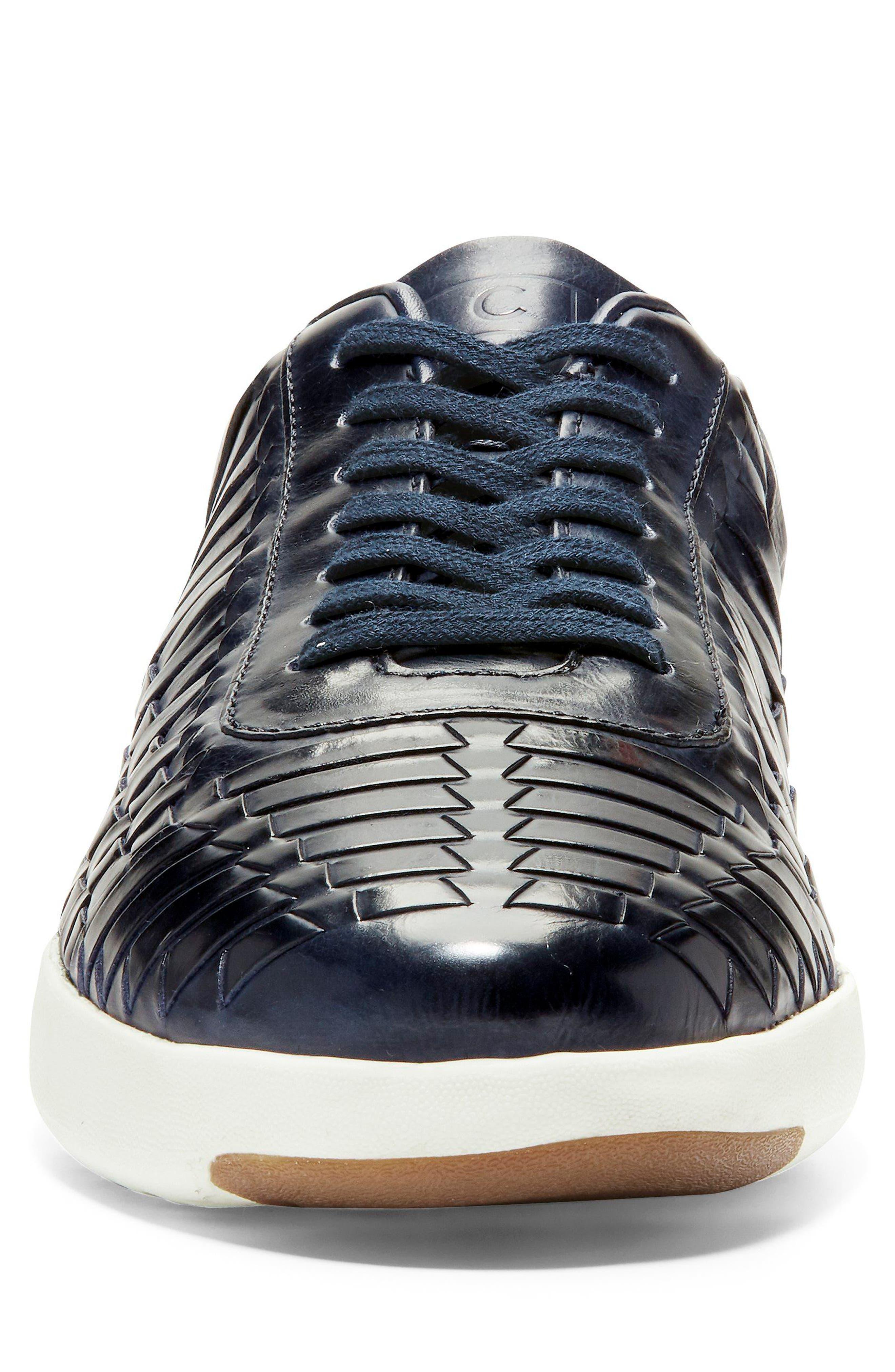 GrandPro Tennis Huarache Sneaker,                             Alternate thumbnail 4, color,                             Navy Woven Burnish