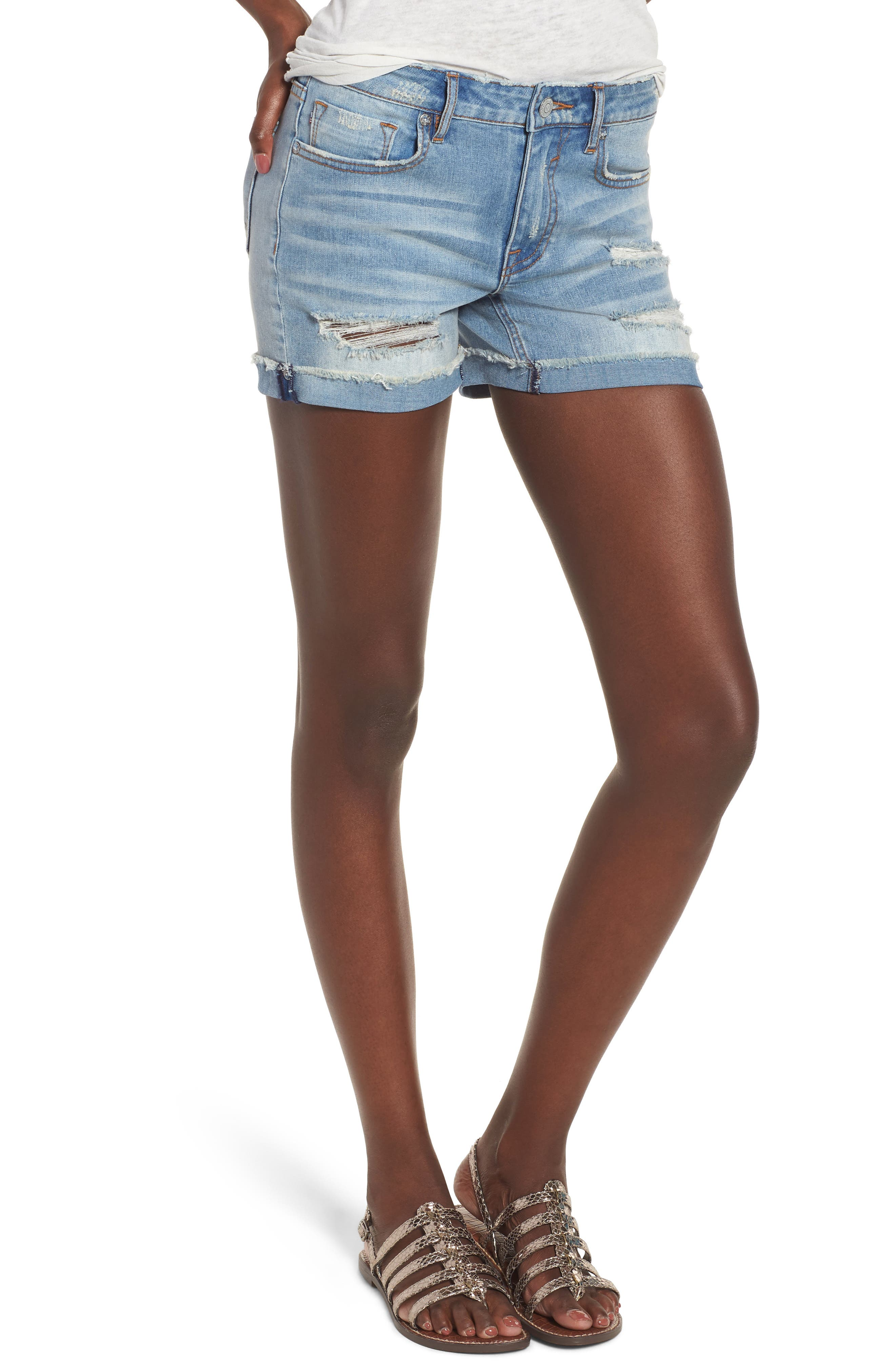 Marley Denim Shorts,                         Main,                         color, Light Wash