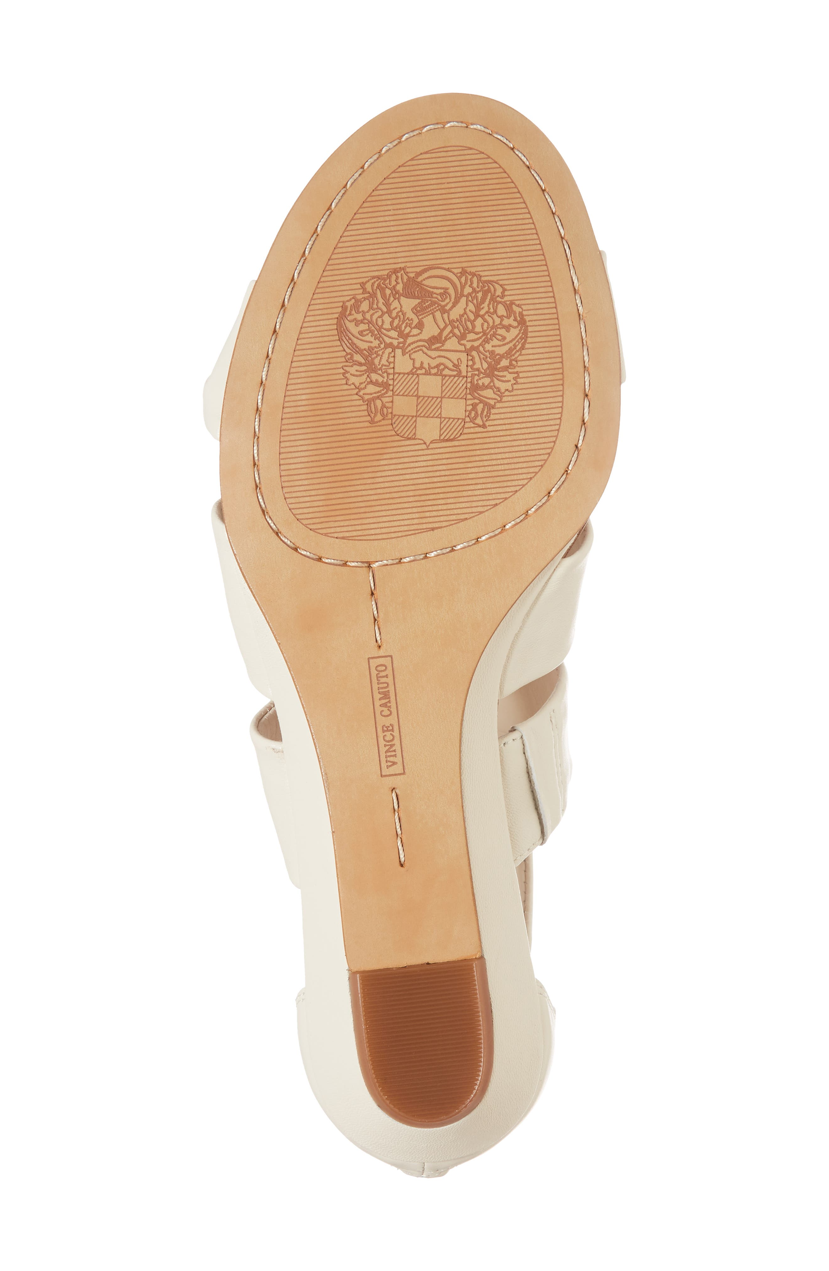 Seevina Low Wedge Sandal,                             Alternate thumbnail 6, color,                             Vanilla Leather