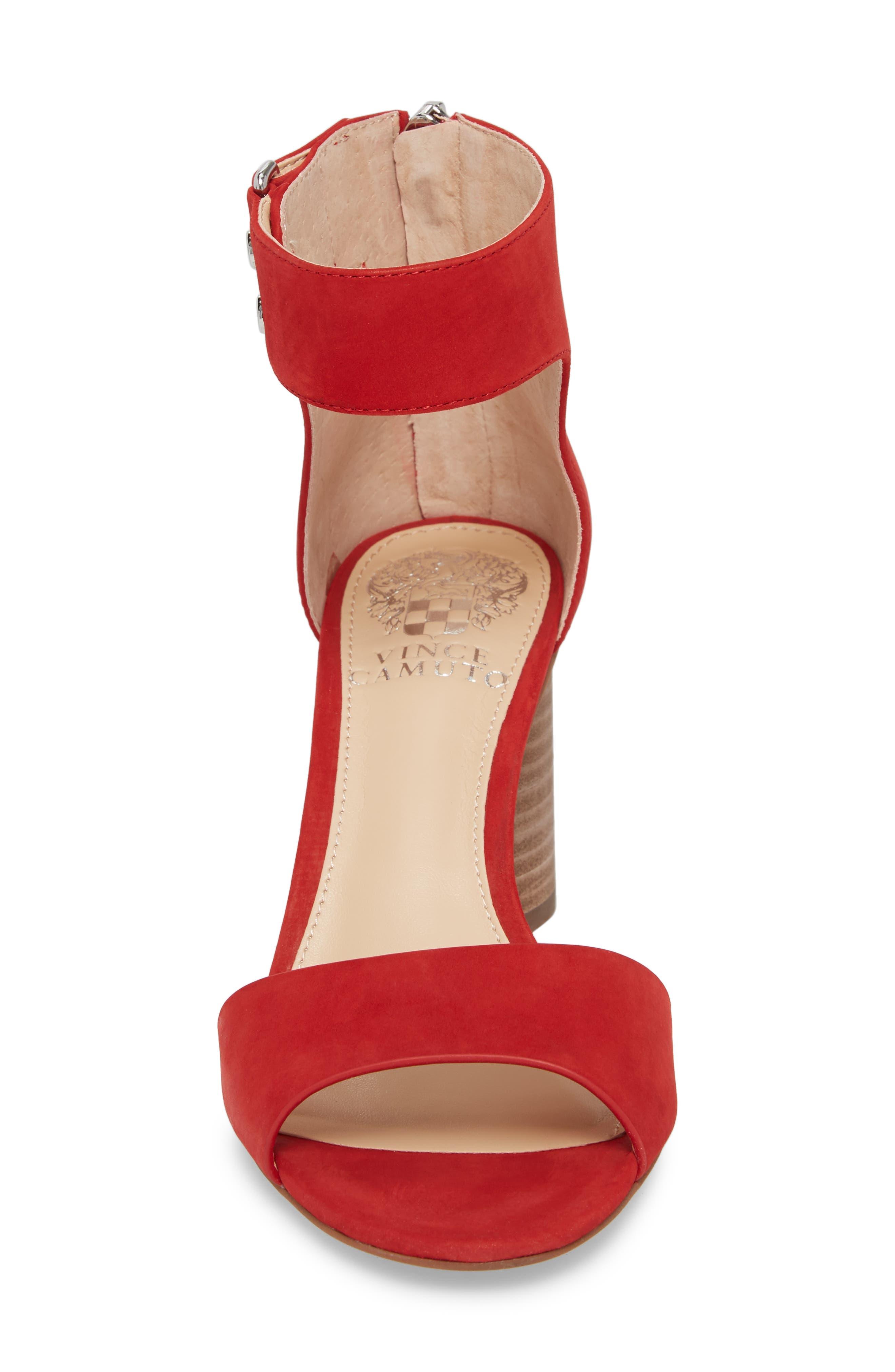 Jannali Ankle Strap Sandal,                             Alternate thumbnail 4, color,                             Cherry Red Leather
