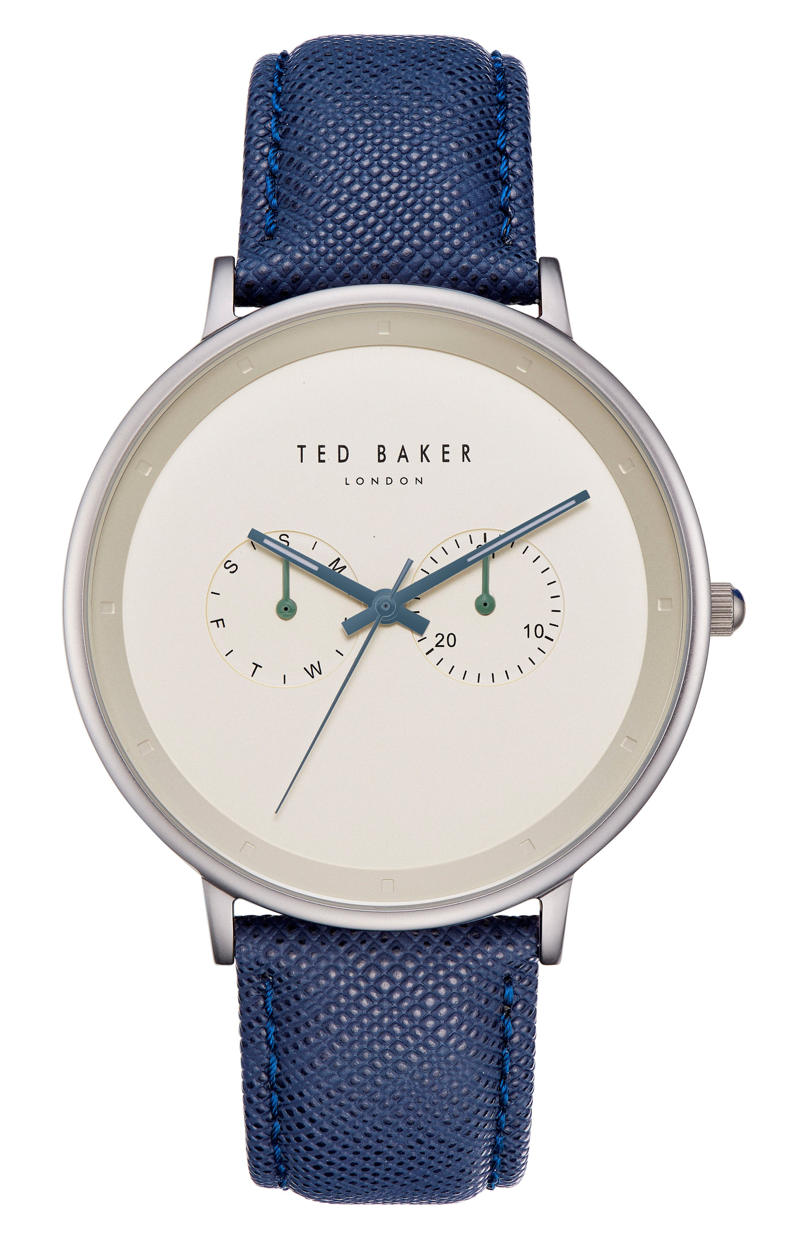 Brad Multifunction Leather Strap Watch, 42mm,                         Main,                         color, Gold/ Dark Blue