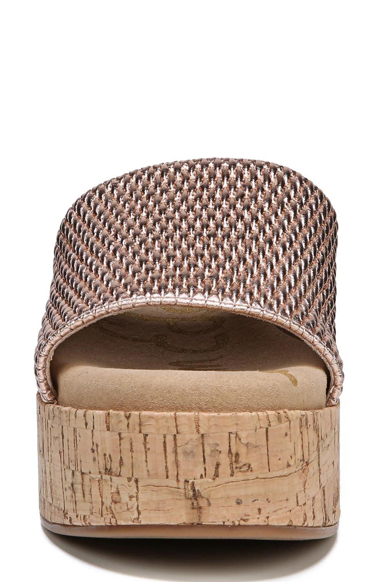 Wendi Platform Slide Sandal,                             Alternate thumbnail 4, color,                             Blush Gold Metallic Fabric