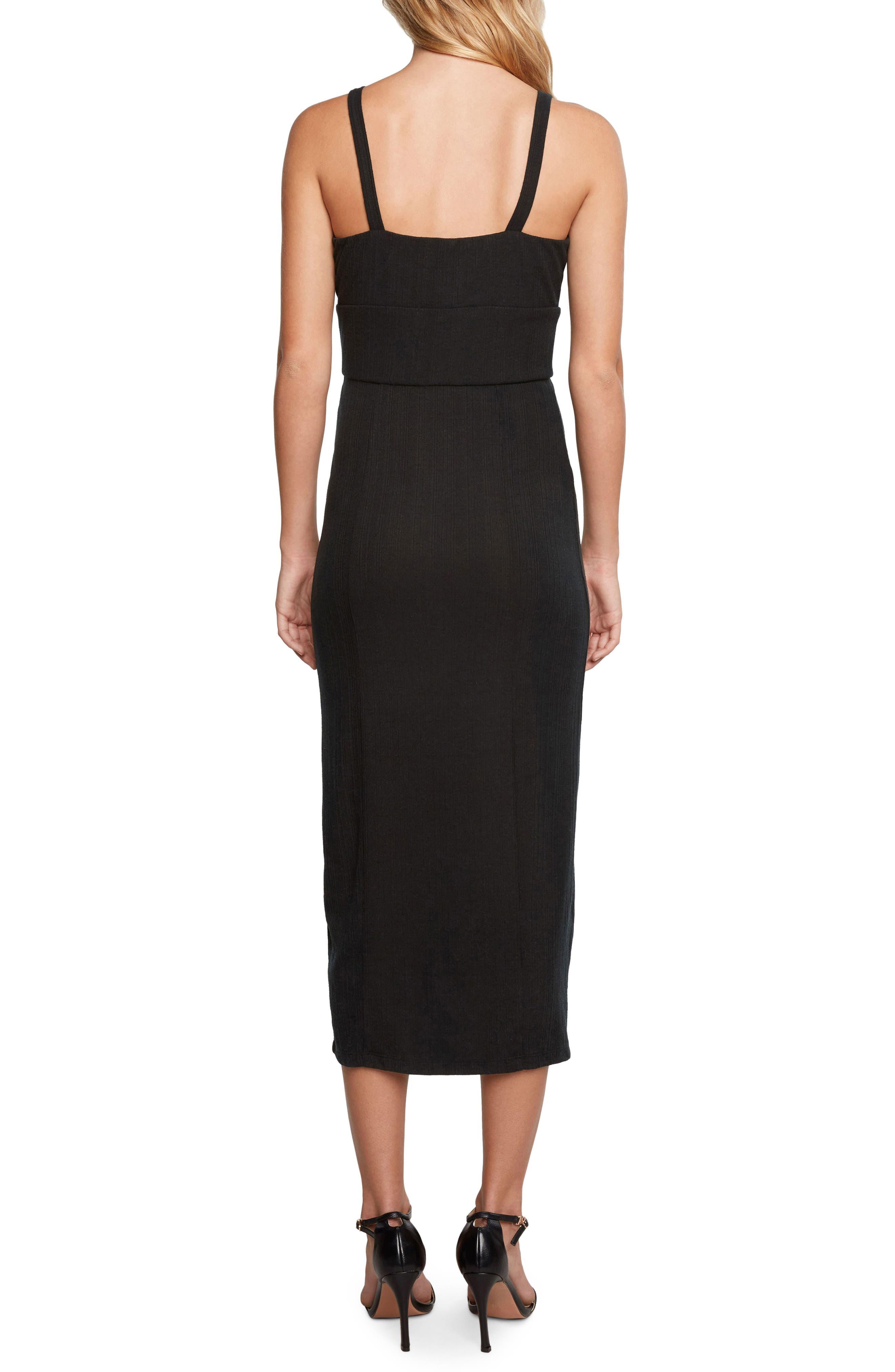 Karina Ribbed Midi Dress,                             Alternate thumbnail 2, color,                             Black