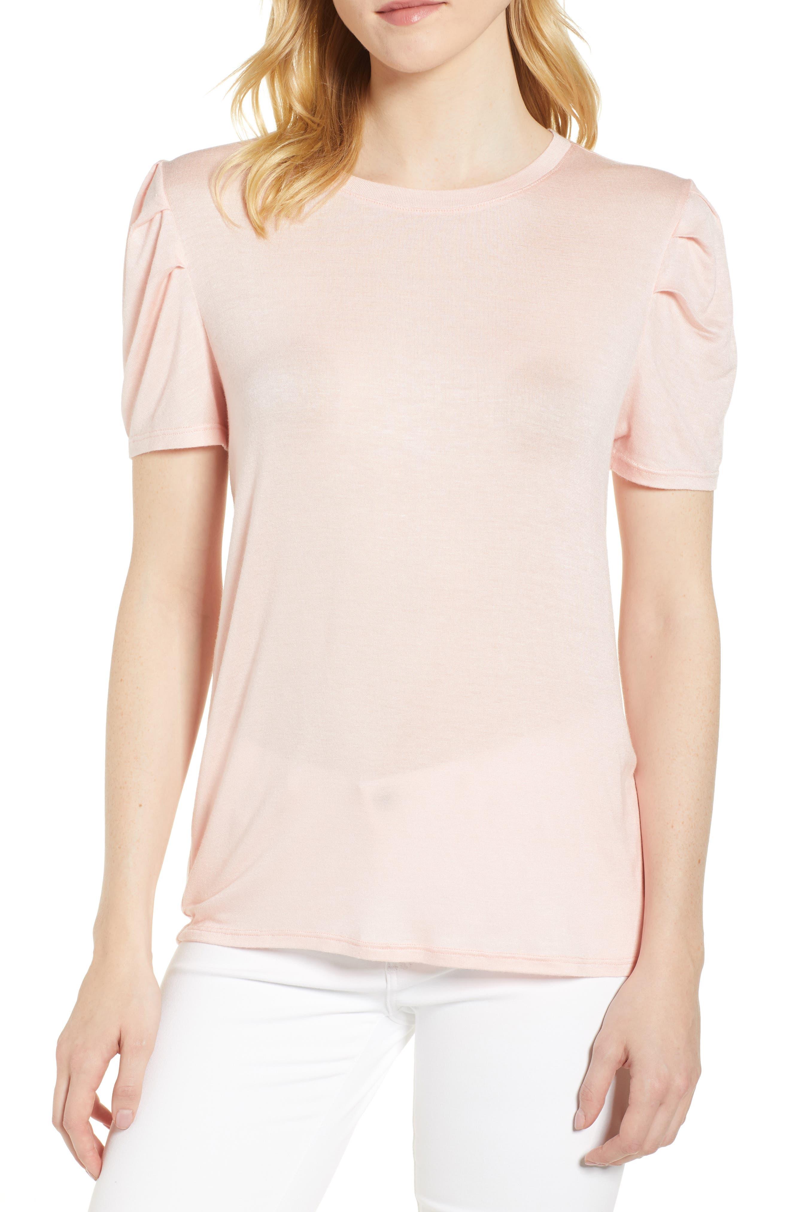 Shoulder Pleat Tee,                             Main thumbnail 1, color,                             Pink Hero