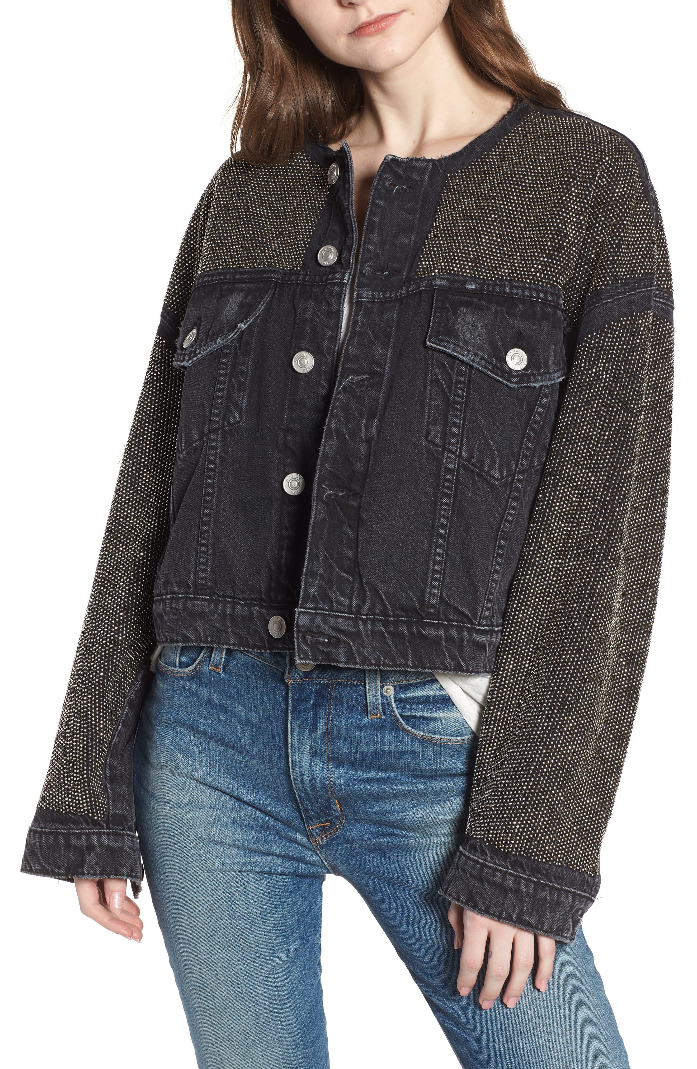 Rei Studded Crop Denim Jacket,                         Main,                         color, Bullet Proof