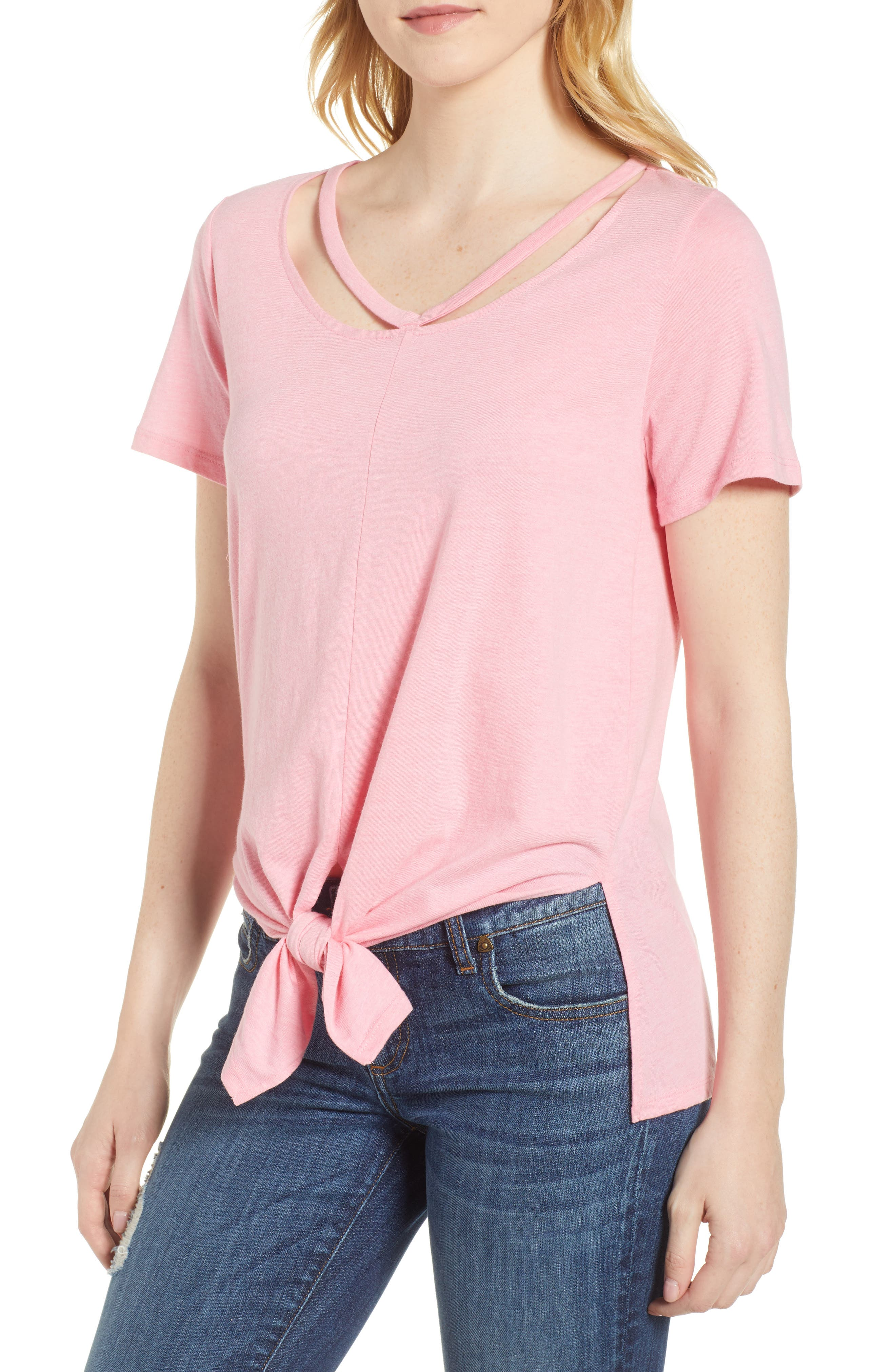 Lucky Brand Cutout Neck Front Tie Tee
