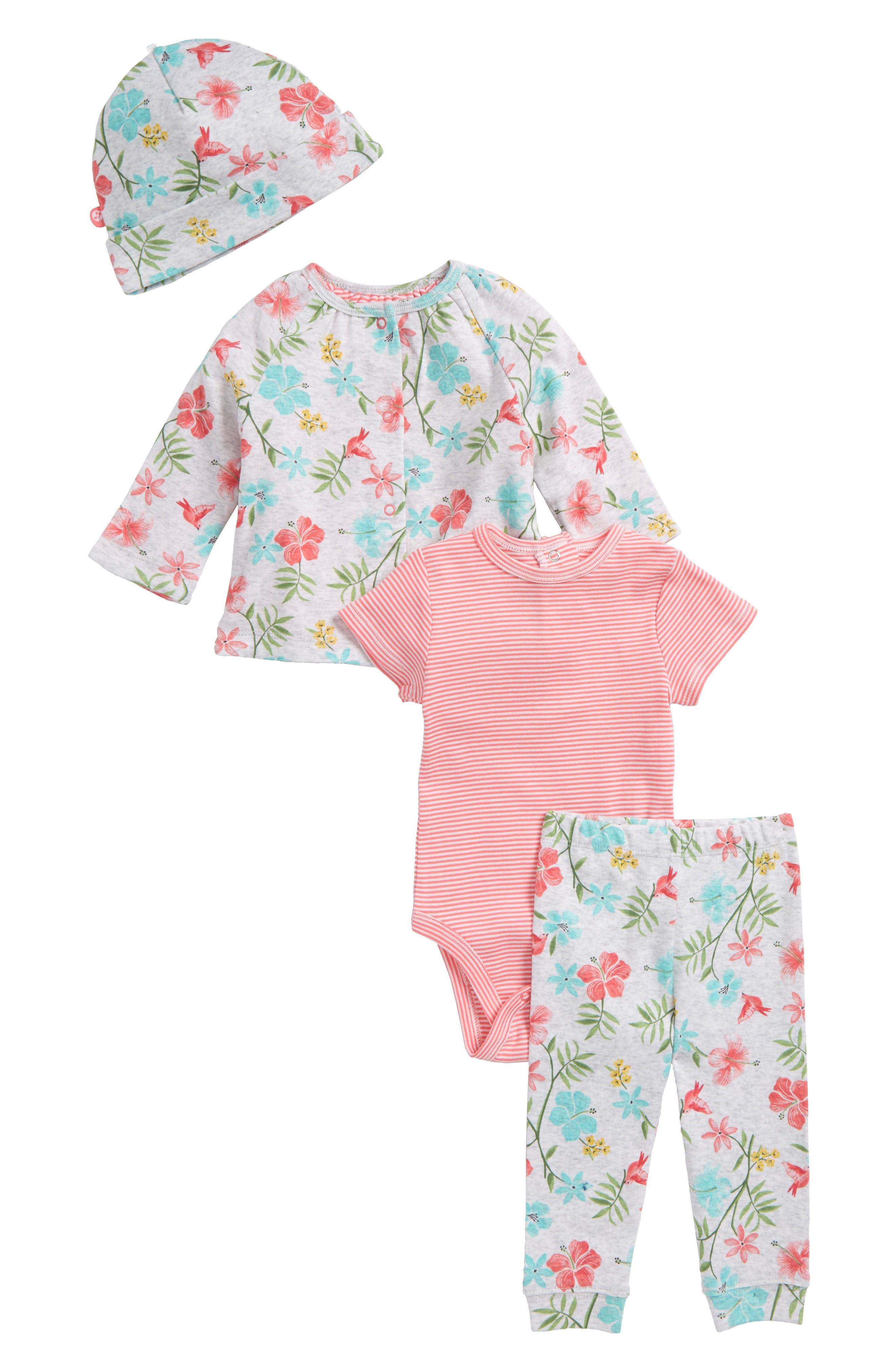 Tropical Reversible Jacket, Bodysuit, Leggings & Hat Set,                             Main thumbnail 1, color,                             Floral