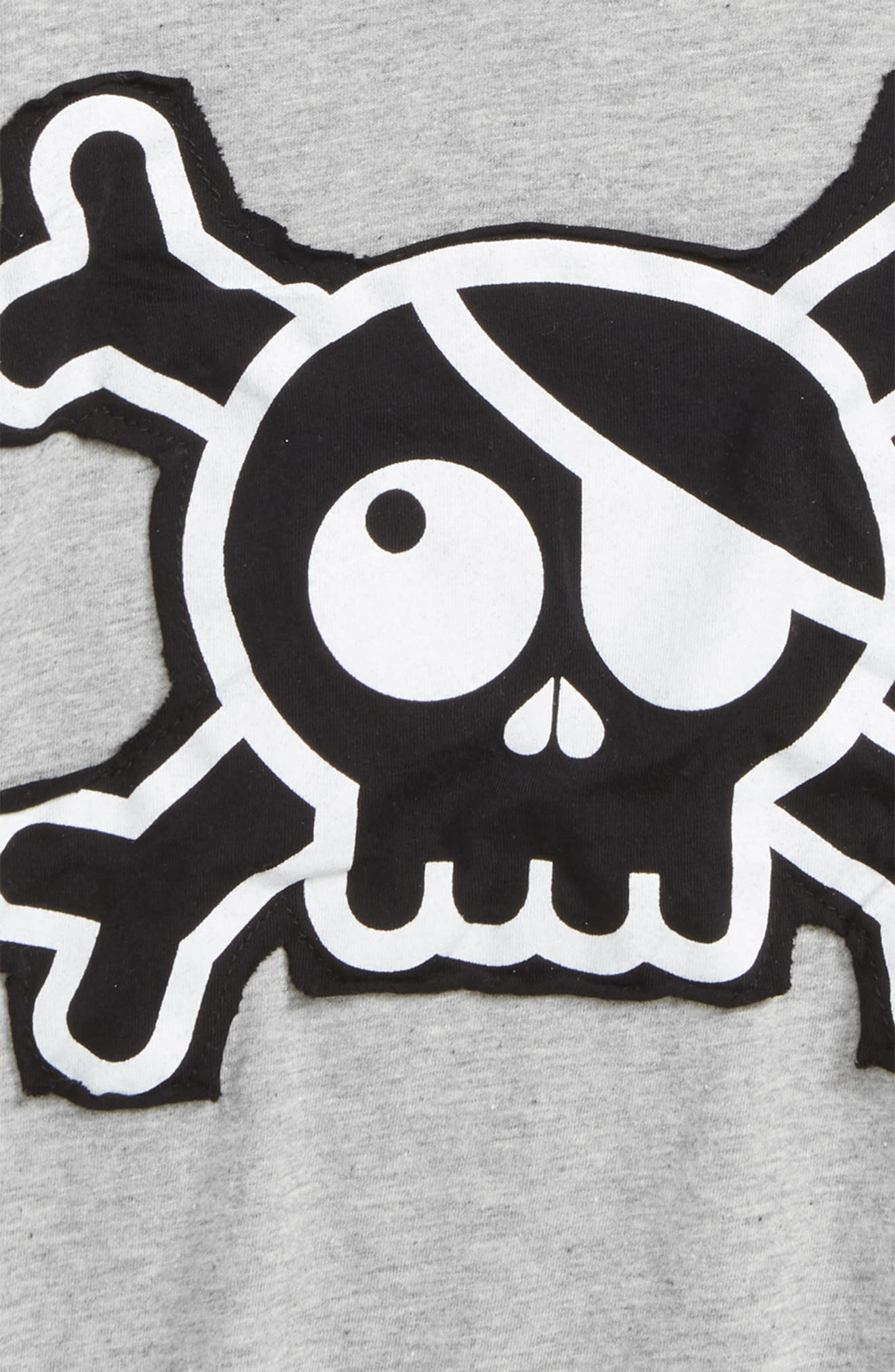 Skull Appliqué T-Shirt,                             Alternate thumbnail 2, color,                             Heather Grey