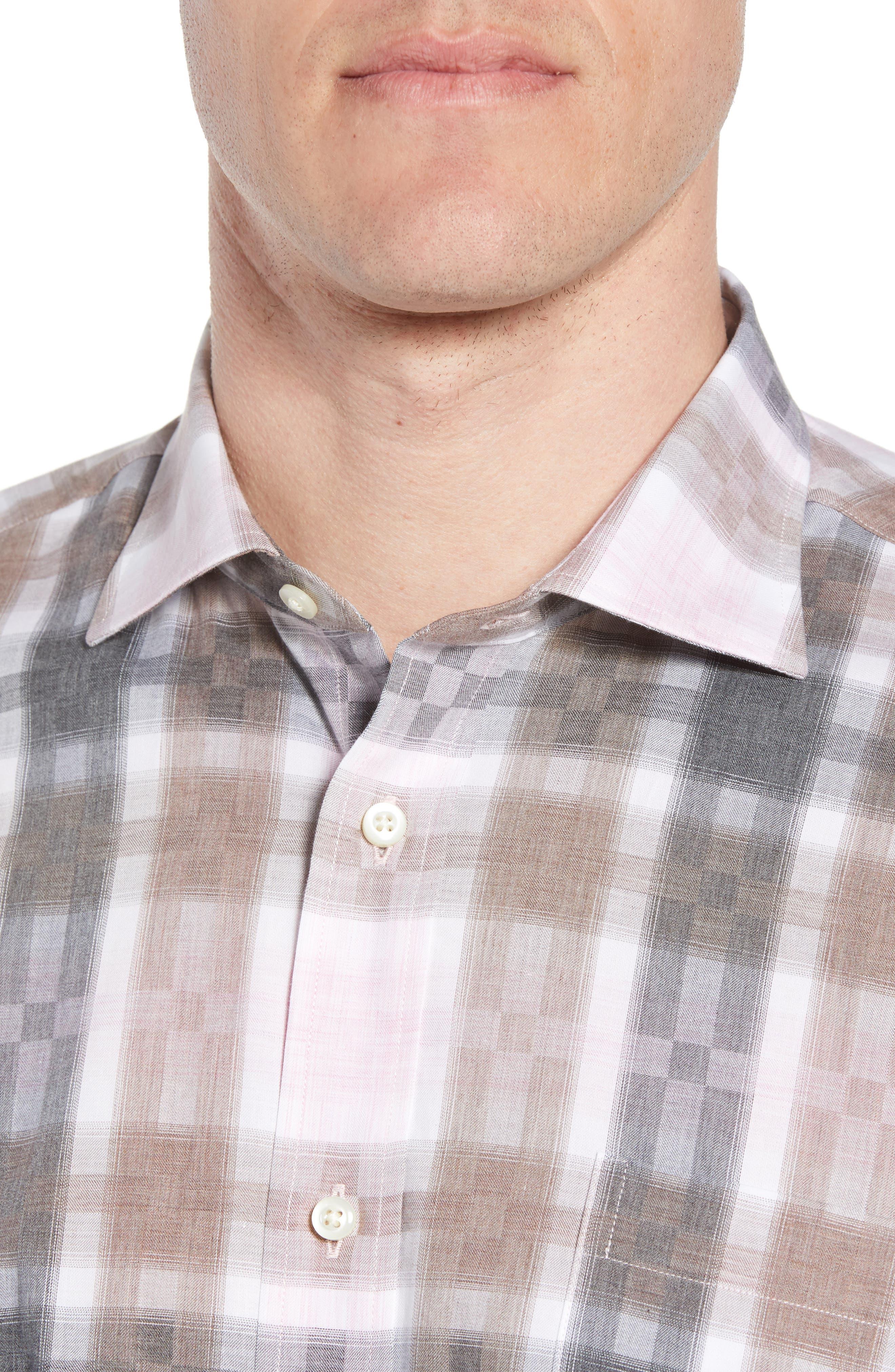 Regular Fit Check Sport Shirt,                             Alternate thumbnail 4, color,                             Pink