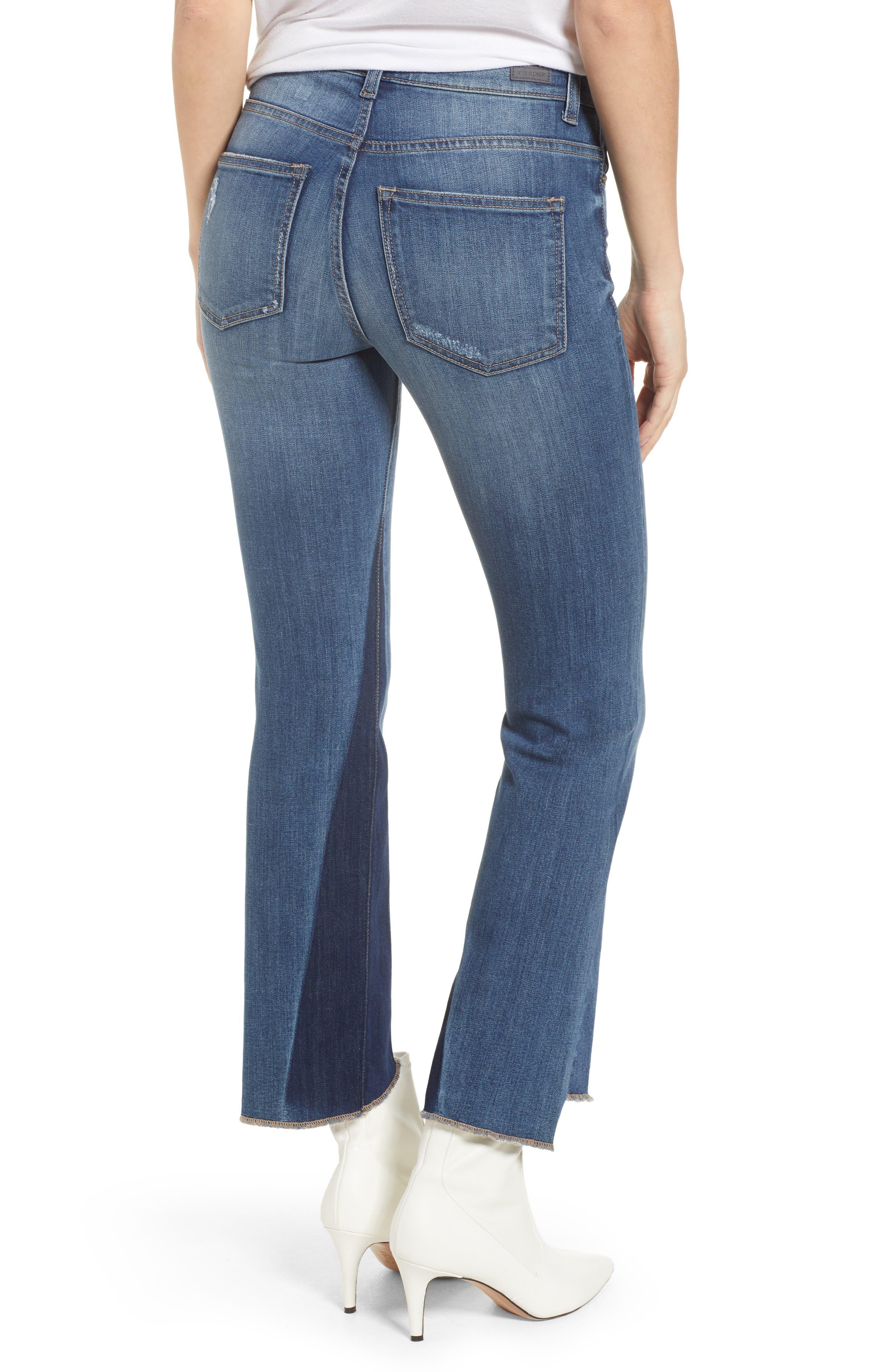 Step Hem Crop Flare Jeans,                             Alternate thumbnail 2, color,                             Med Wash