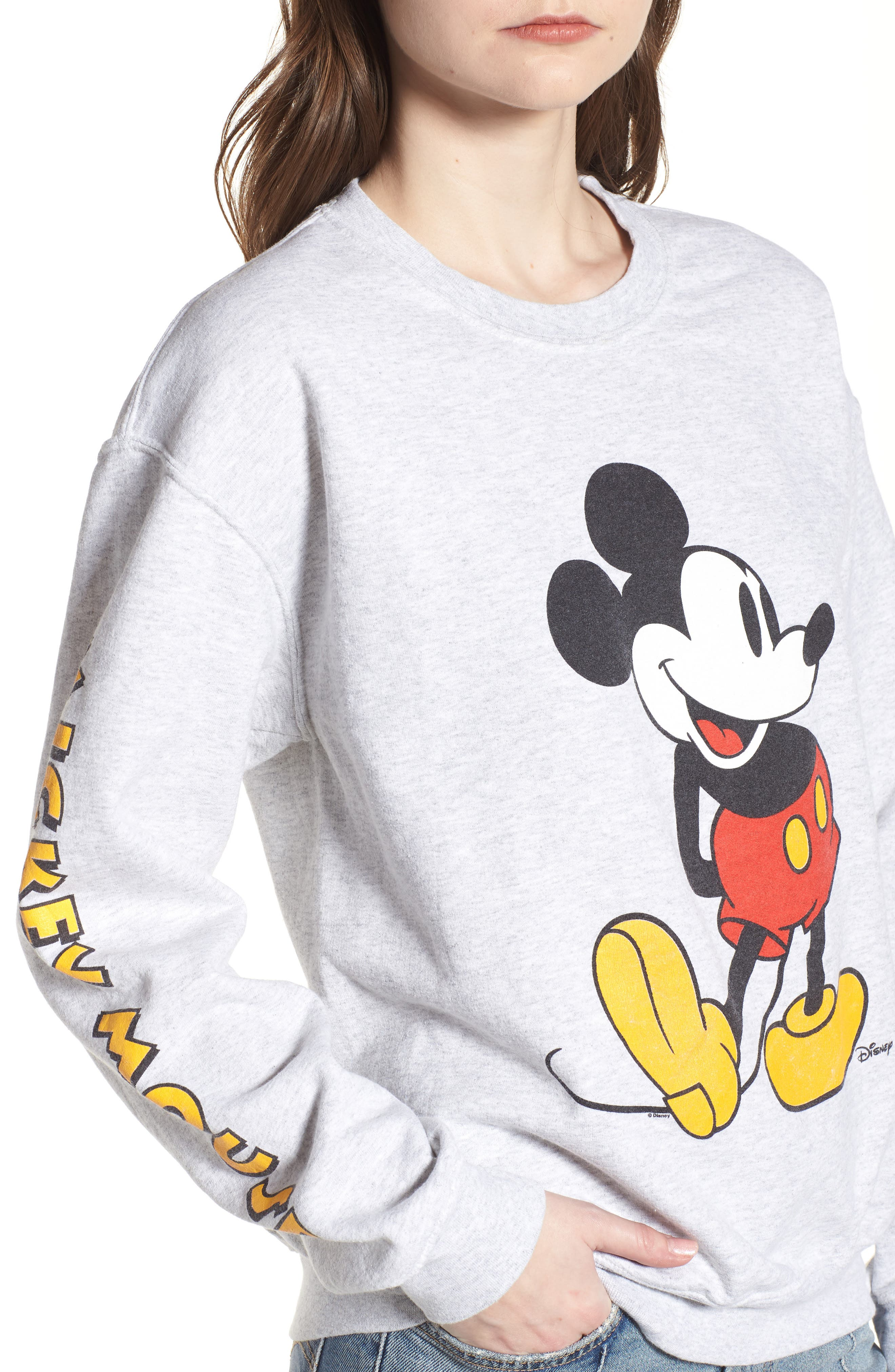 Mickey Mouse Oversize Sweatshirt,                             Alternate thumbnail 4, color,                             Ash Heather