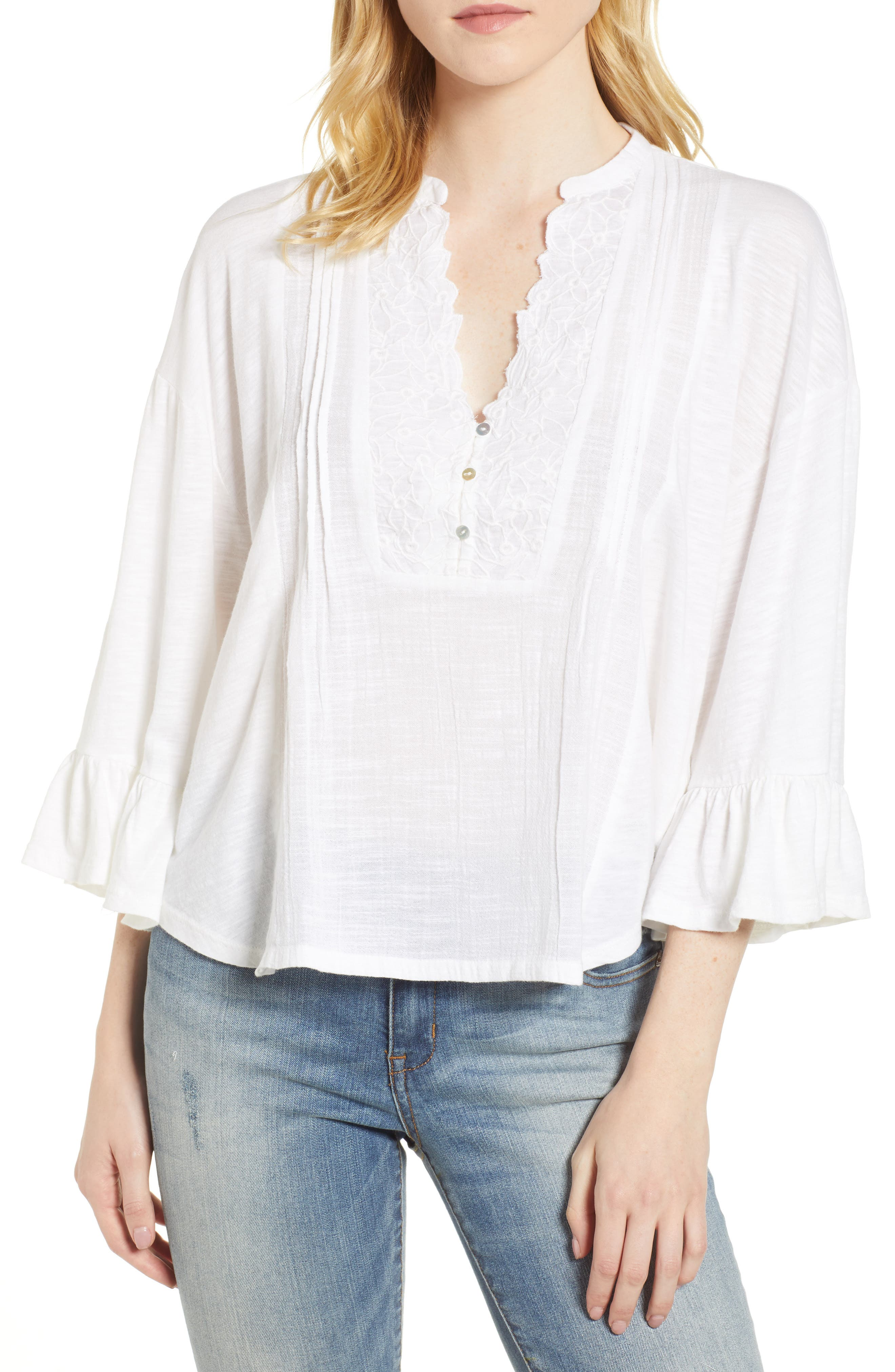 Pintuck Peasant Top,                         Main,                         color, Lucky White