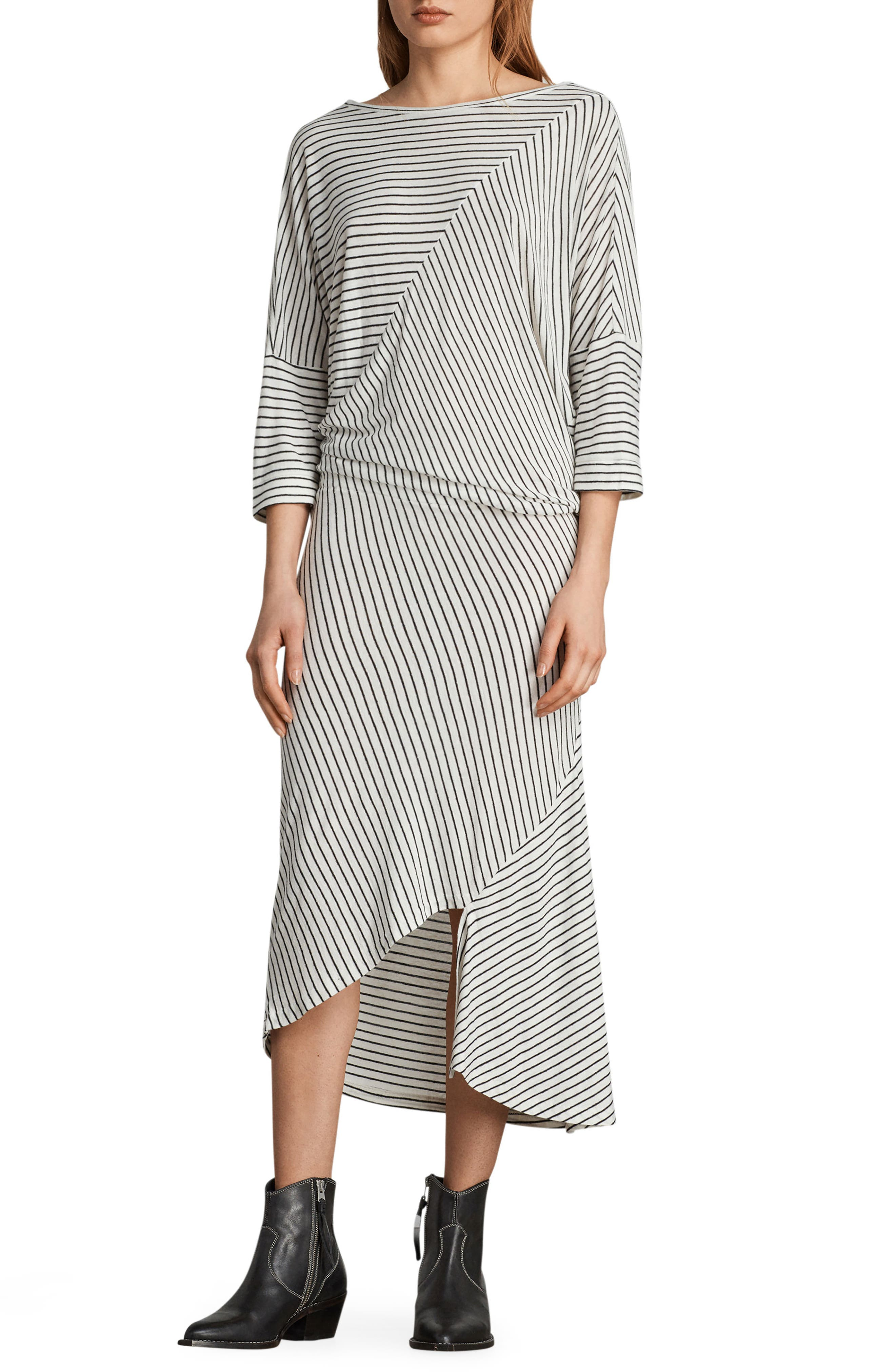 Cadie Stripe Midi Dress,                         Main,                         color, Ecru White/ Black