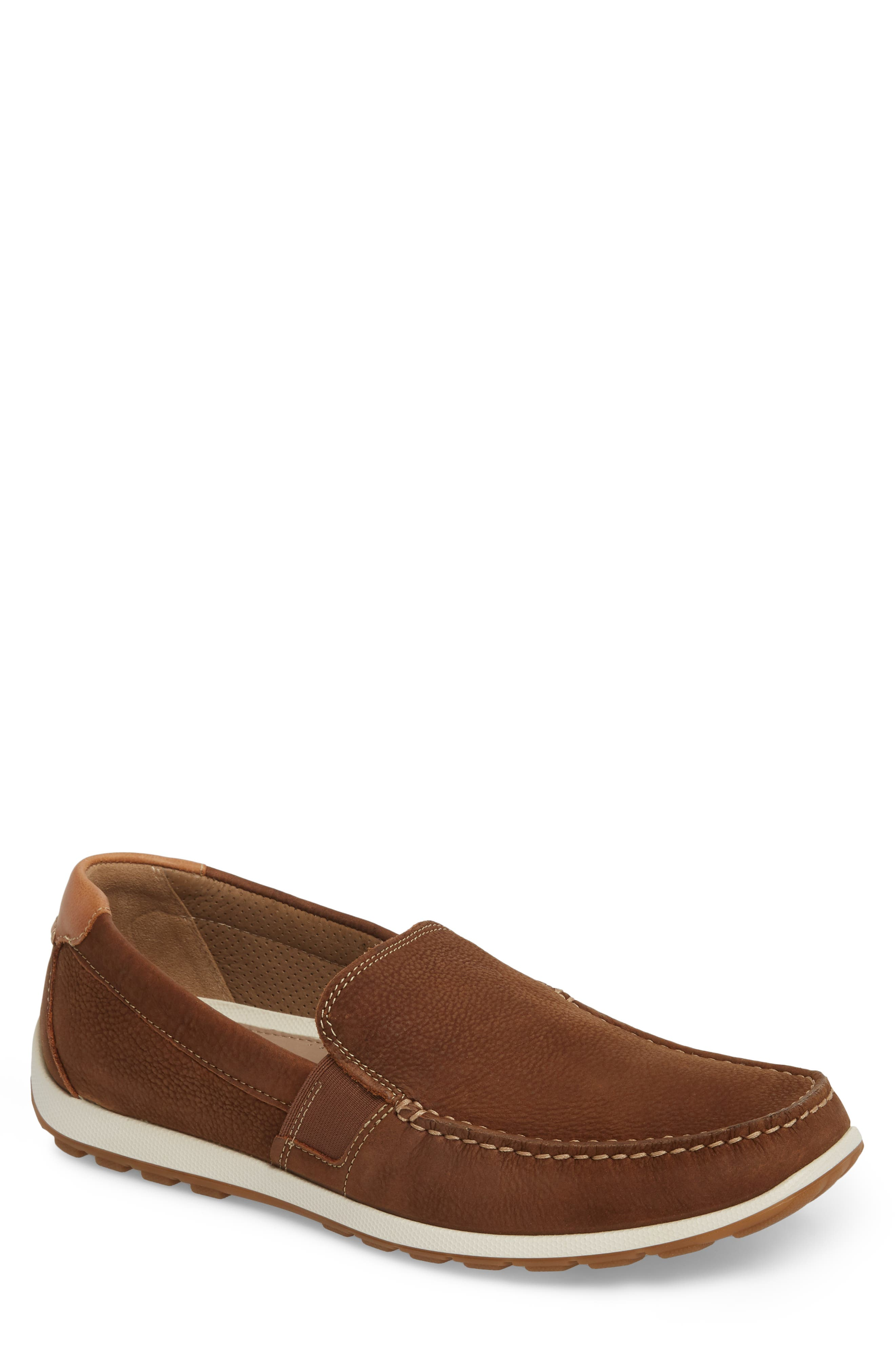 DIP Lux Moc Toe Driver,                         Main,                         color, Mahogany Leather