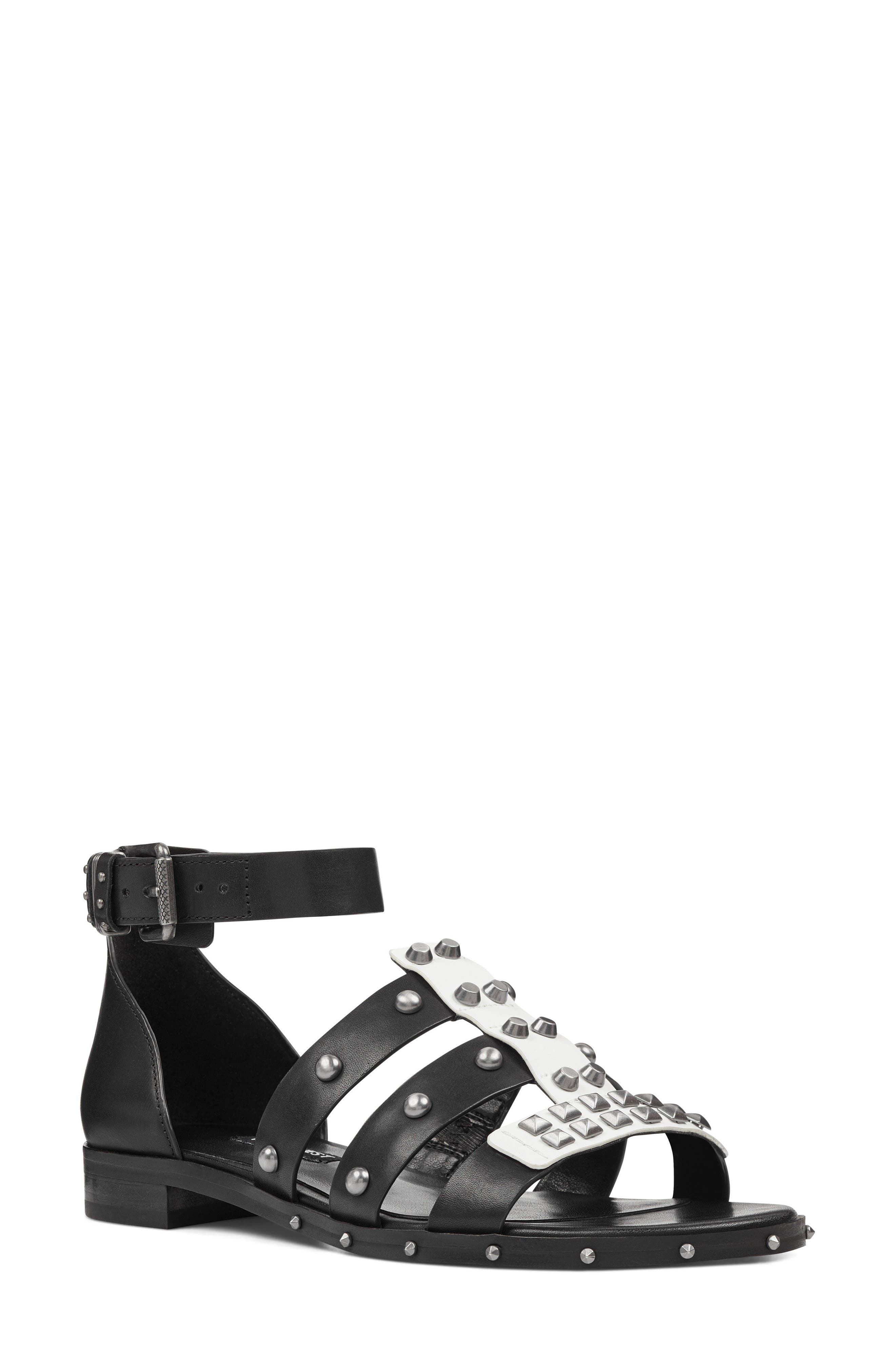 Corisande Sandal,                             Main thumbnail 1, color,                             White/ Black Leather
