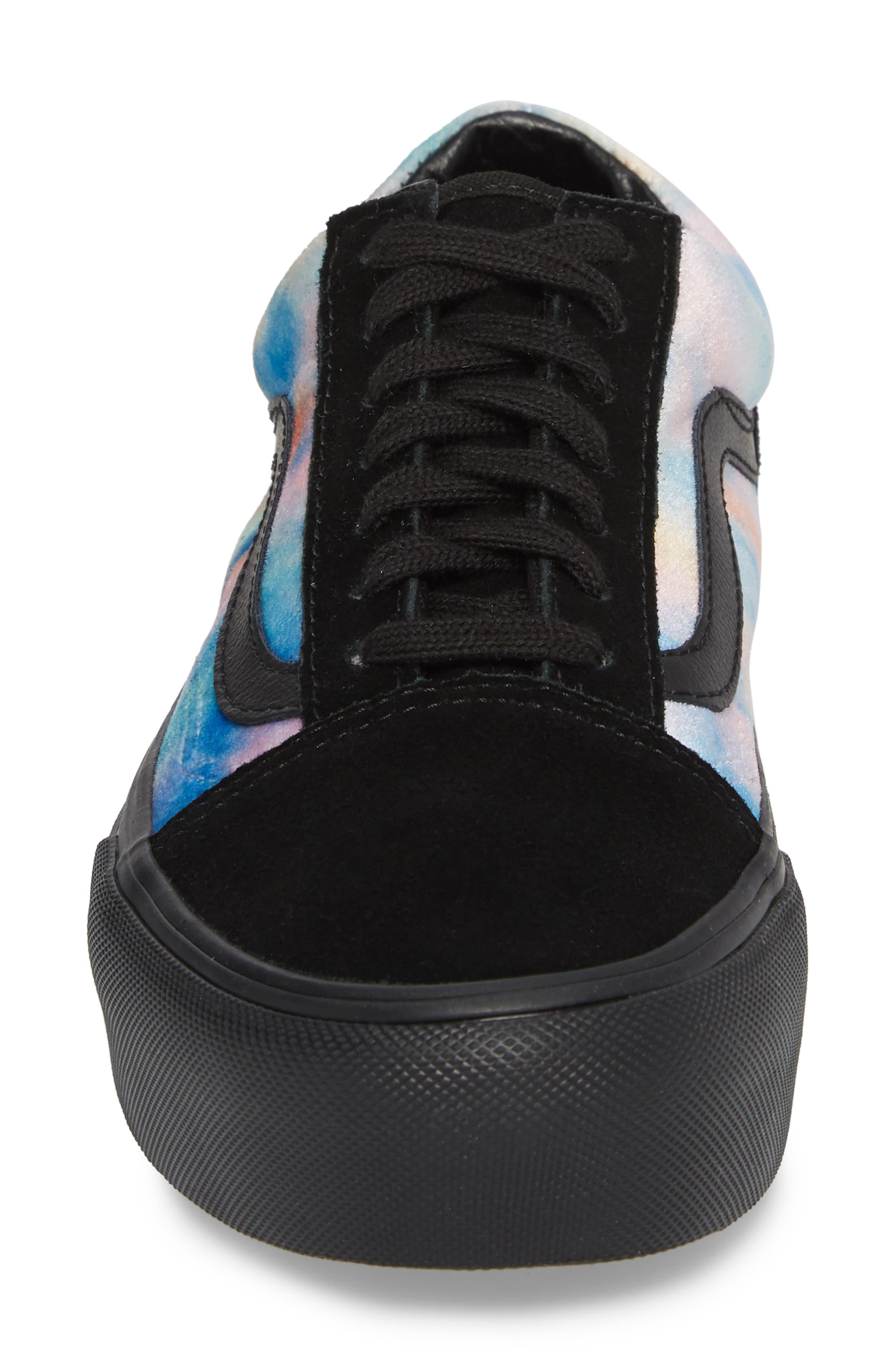 Old Skool Platform Sneaker,                             Alternate thumbnail 5, color,                             Velvet Tie-Dye Multi/ Black