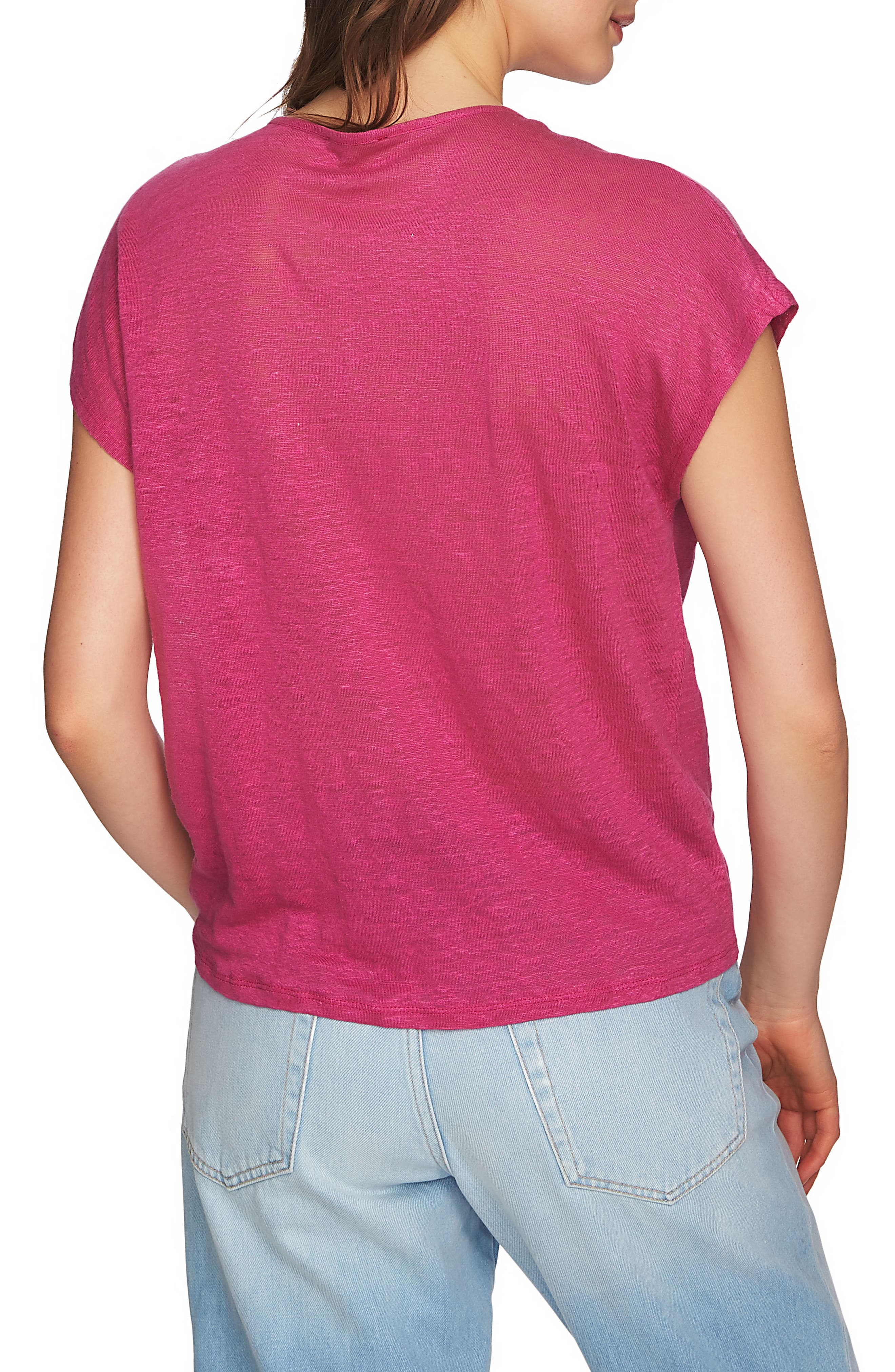 Cinched Front Linen Top,                             Alternate thumbnail 2, color,                             Magenta