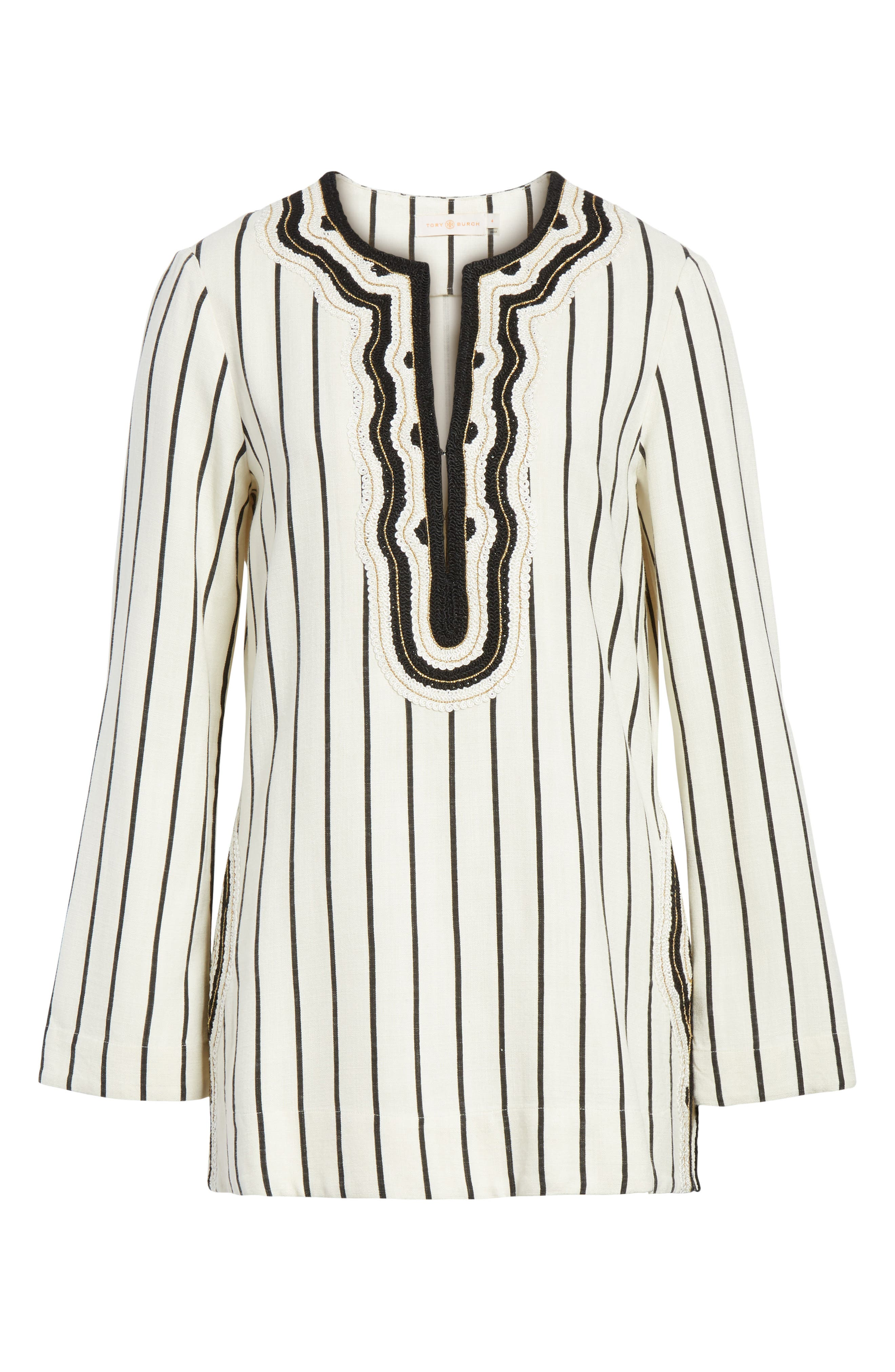 Tory Embellished Stripe Tunic,                             Alternate thumbnail 6, color,                             New Ivory/ Black