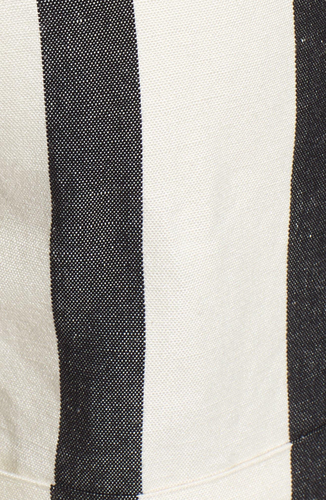 Stripe Cuff Shorts,                             Alternate thumbnail 5, color,                             Black- Ivory Bold Stripe
