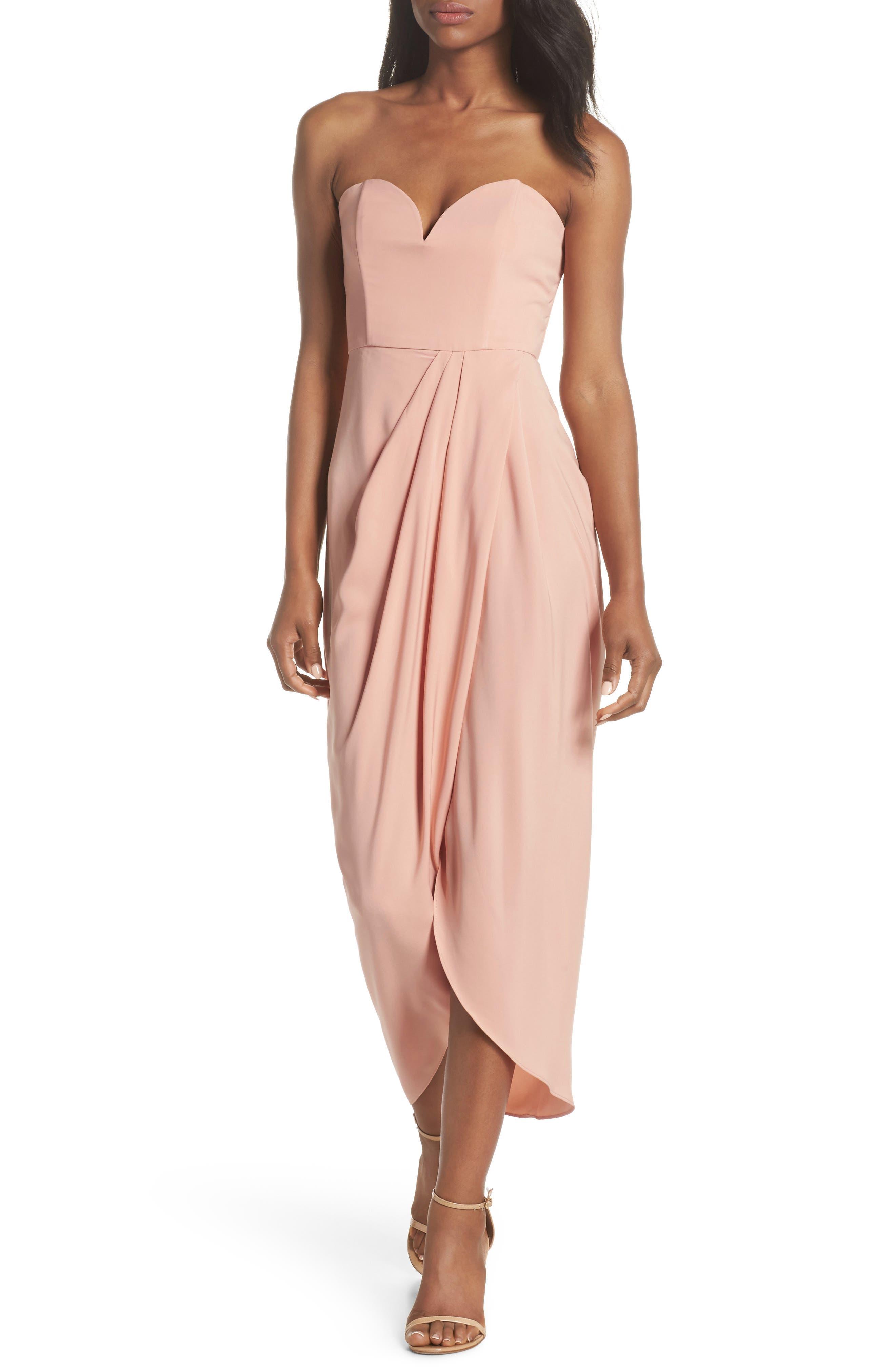 Underwire Bustier Tulip Hem Dress,                             Main thumbnail 1, color,                             Dusty Pink