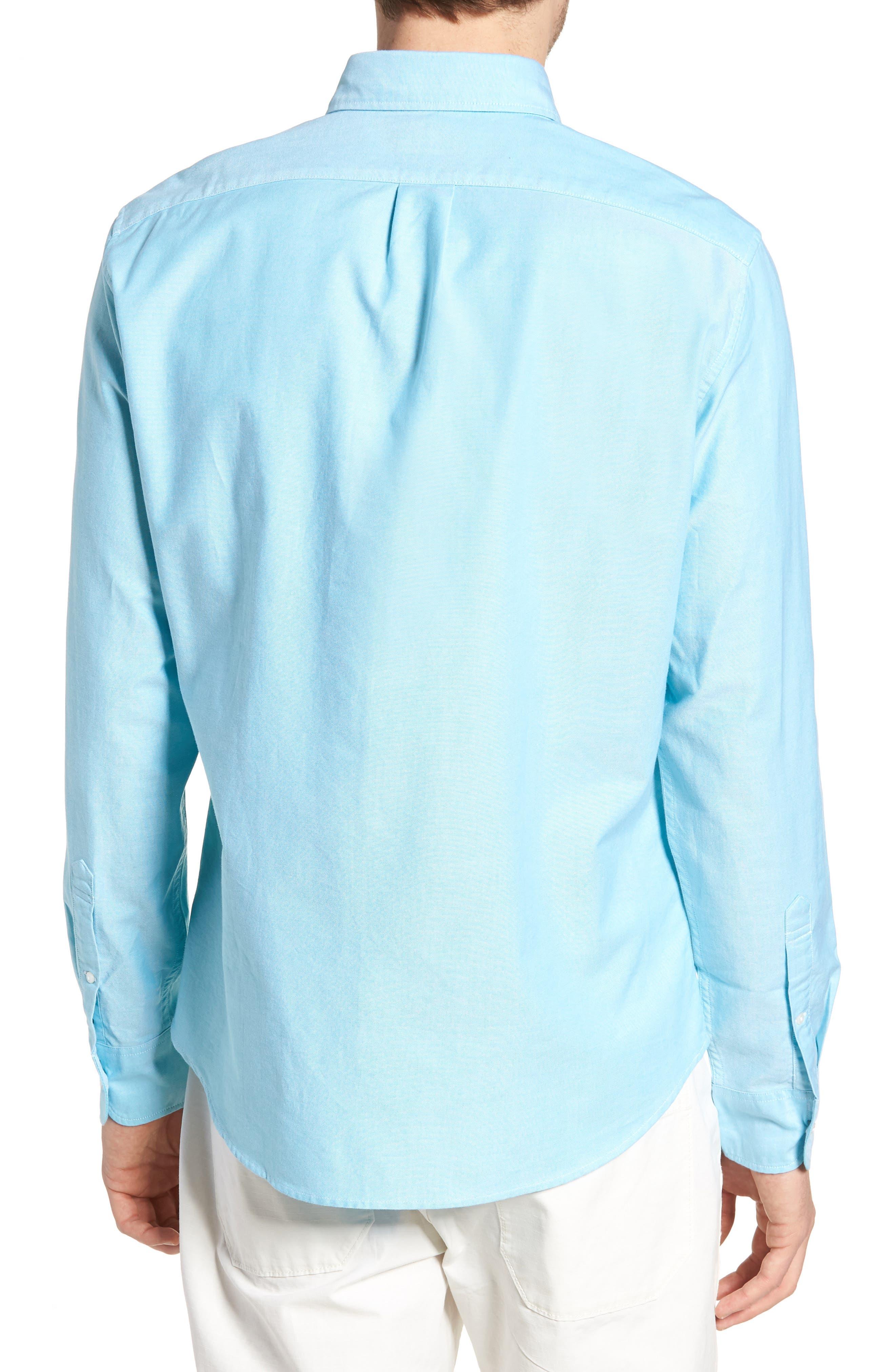 Slim Fit Stretch Pima Cotton Oxford Shirt,                             Alternate thumbnail 4, color,                             Tropical Blue