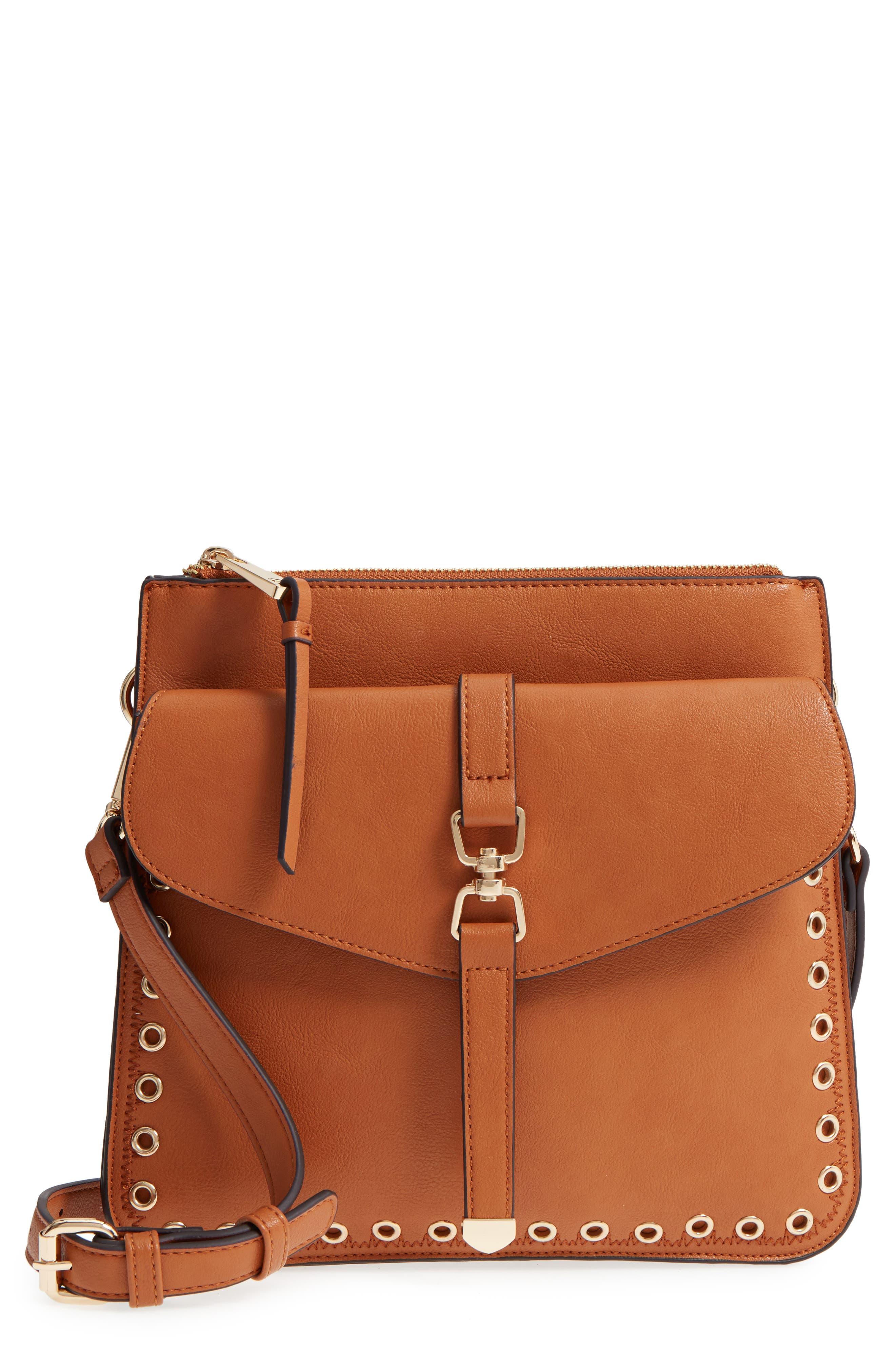Front Pocket Faux Leather Crossbody Bag,                             Main thumbnail 1, color,                             Cognac