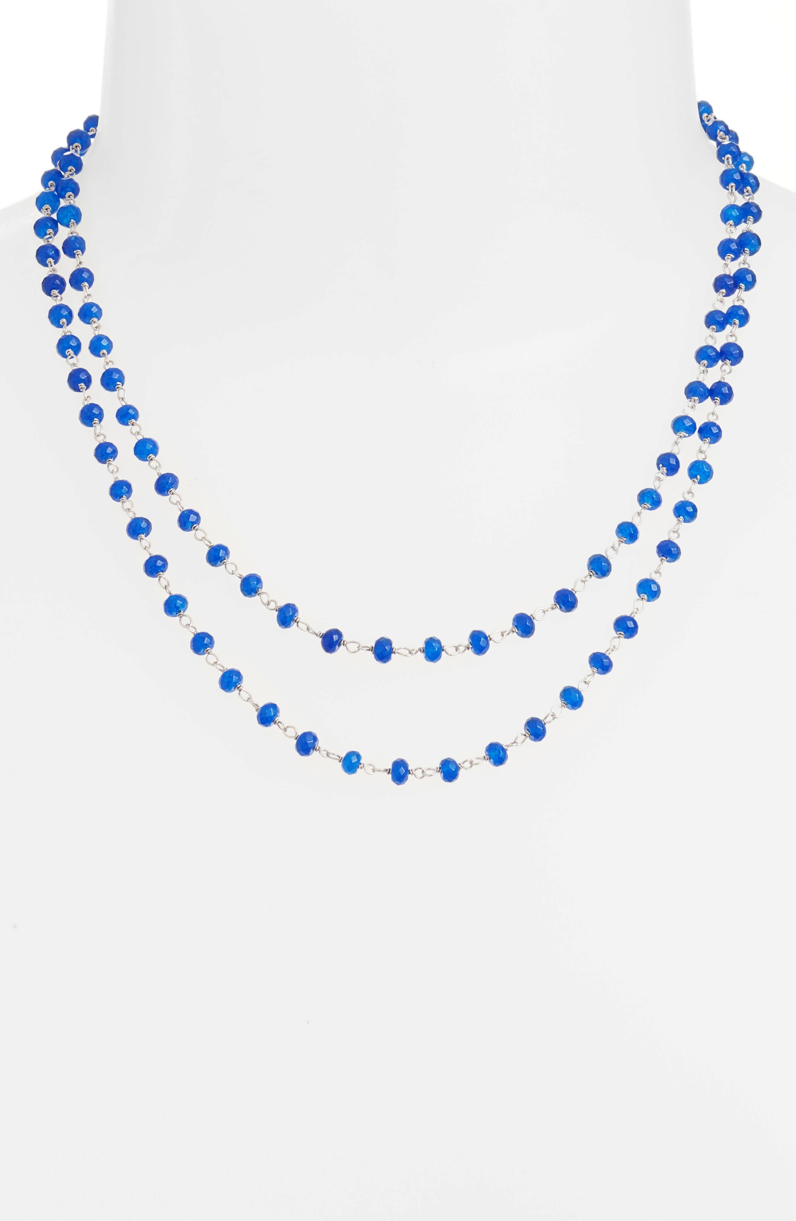 Beaded Wrap Necklace,                             Alternate thumbnail 2, color,                             Silver/ Lapis