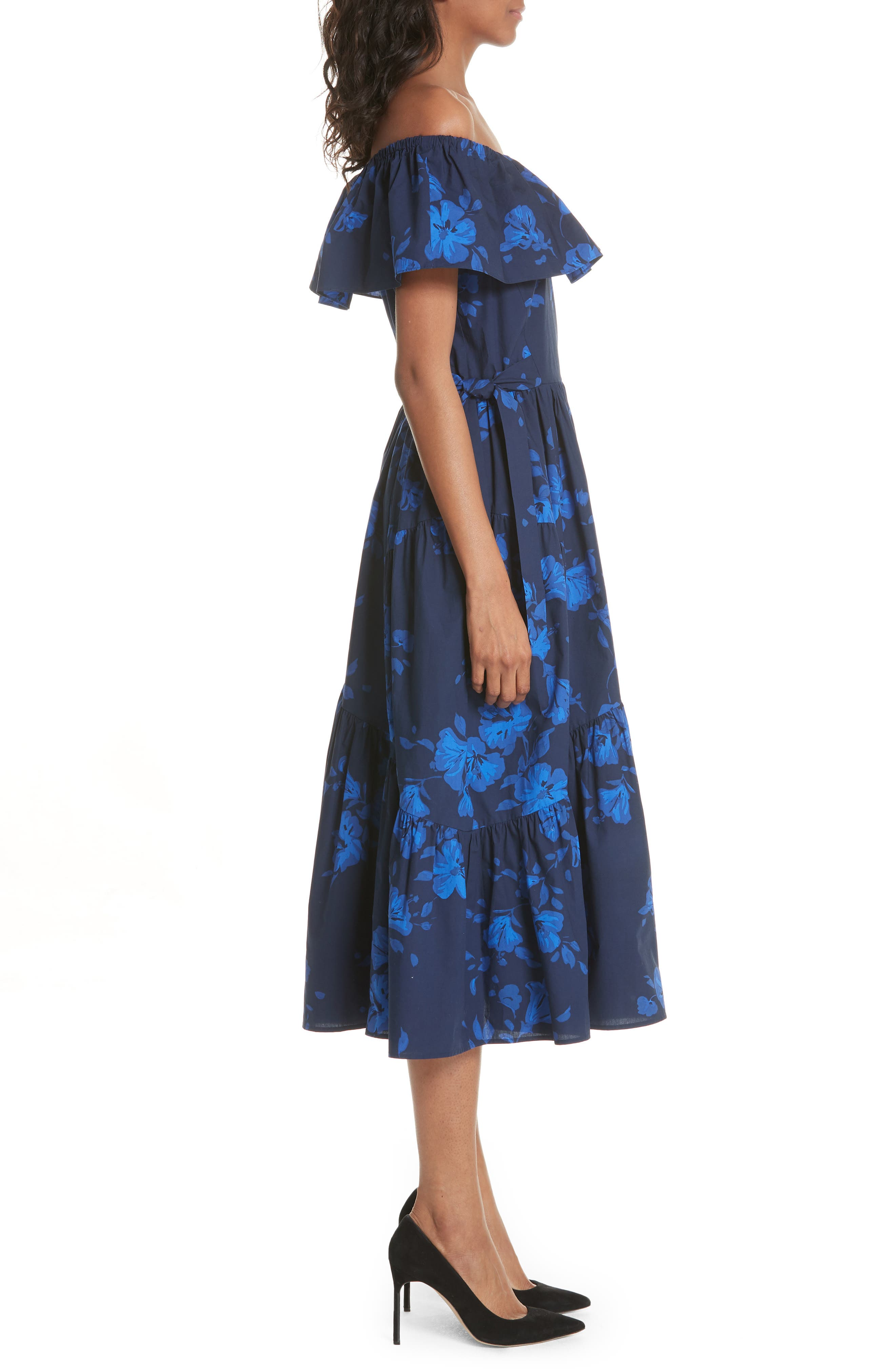hibiscus off the shoulder cotton dress,                             Alternate thumbnail 3, color,                             French Navy