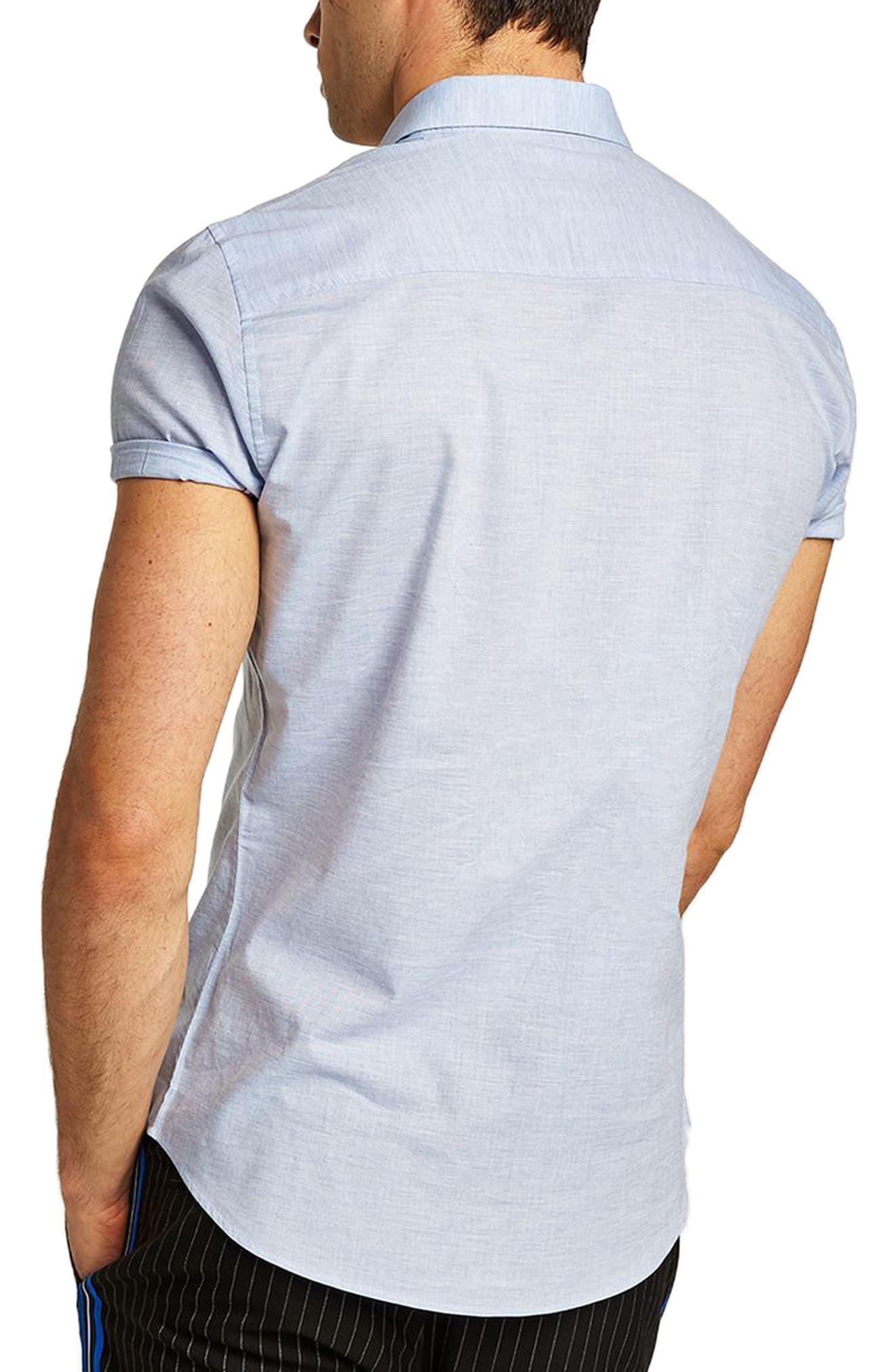Skinny Fit Slub Shirt,                             Alternate thumbnail 2, color,                             Blue