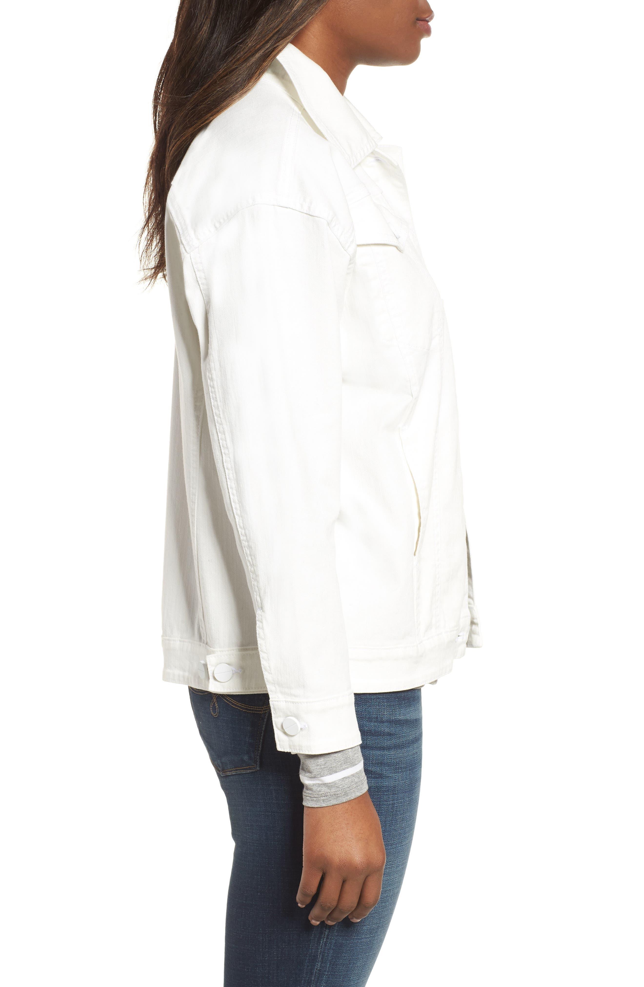 Relaxed White Denim Jacket,                             Alternate thumbnail 3, color,                             White