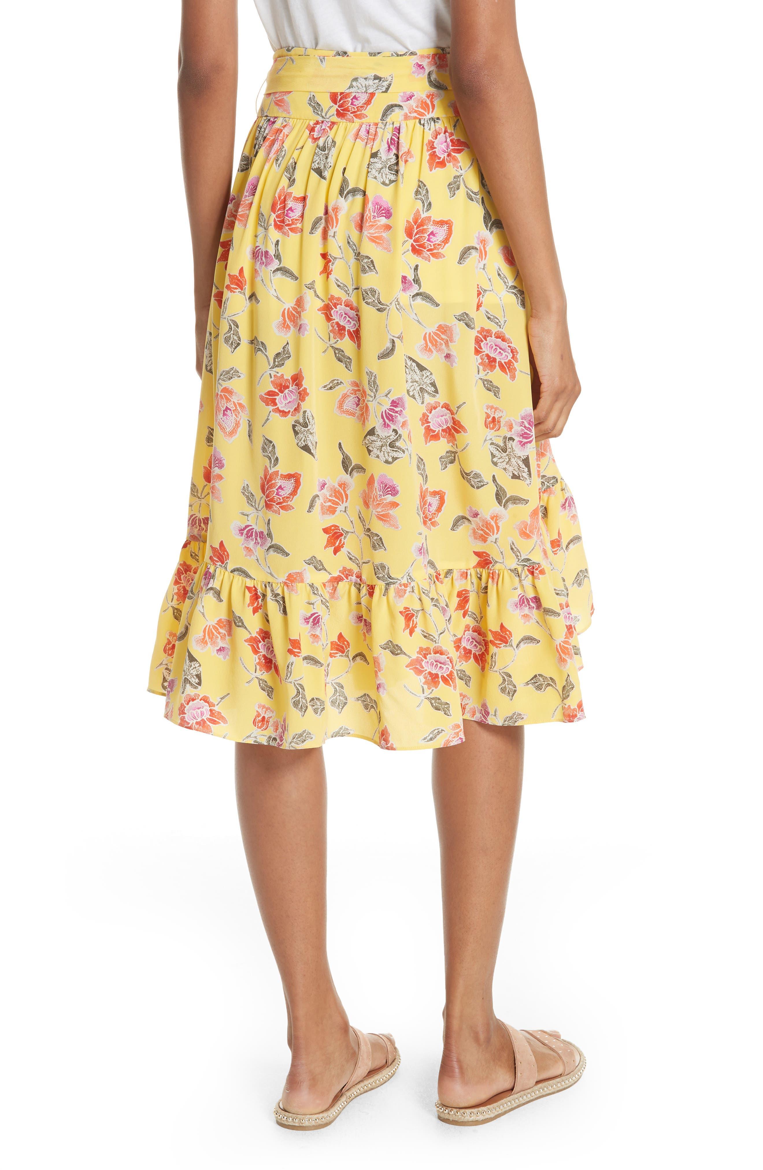 Denisha Floral Ruffle Silk Skirt,                             Alternate thumbnail 2, color,                             Pineapple
