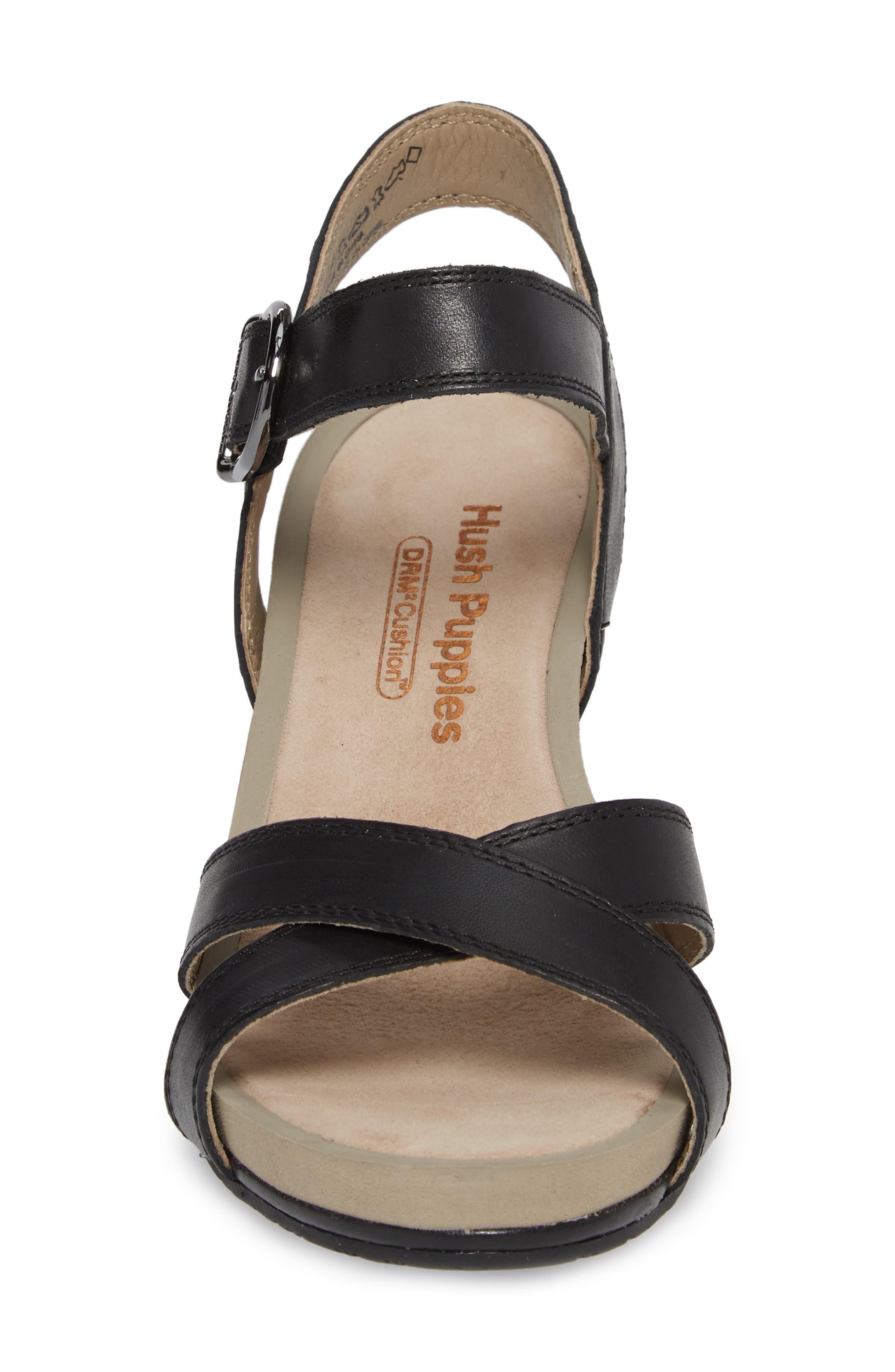 Mariska Block Heel Sandal,                             Alternate thumbnail 4, color,                             Black Leather