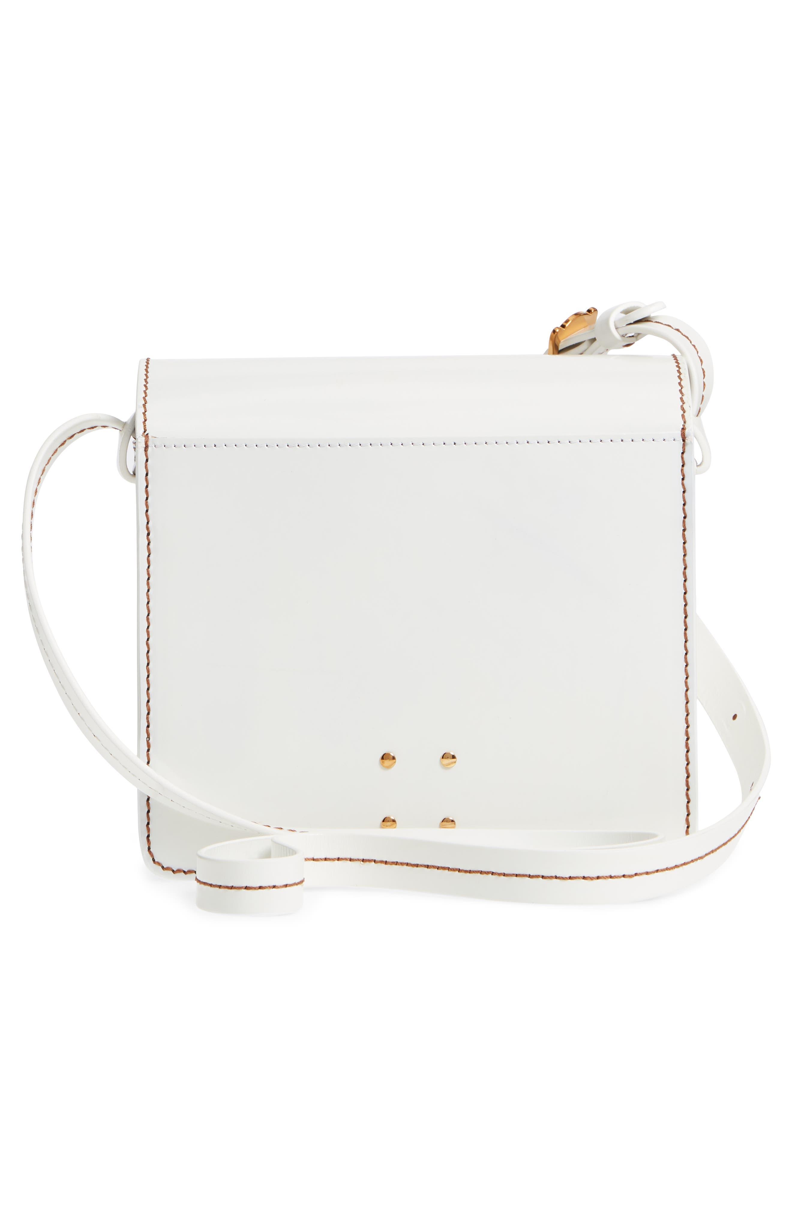 Greta Leather Crossbody Bag,                             Alternate thumbnail 3, color,                             White