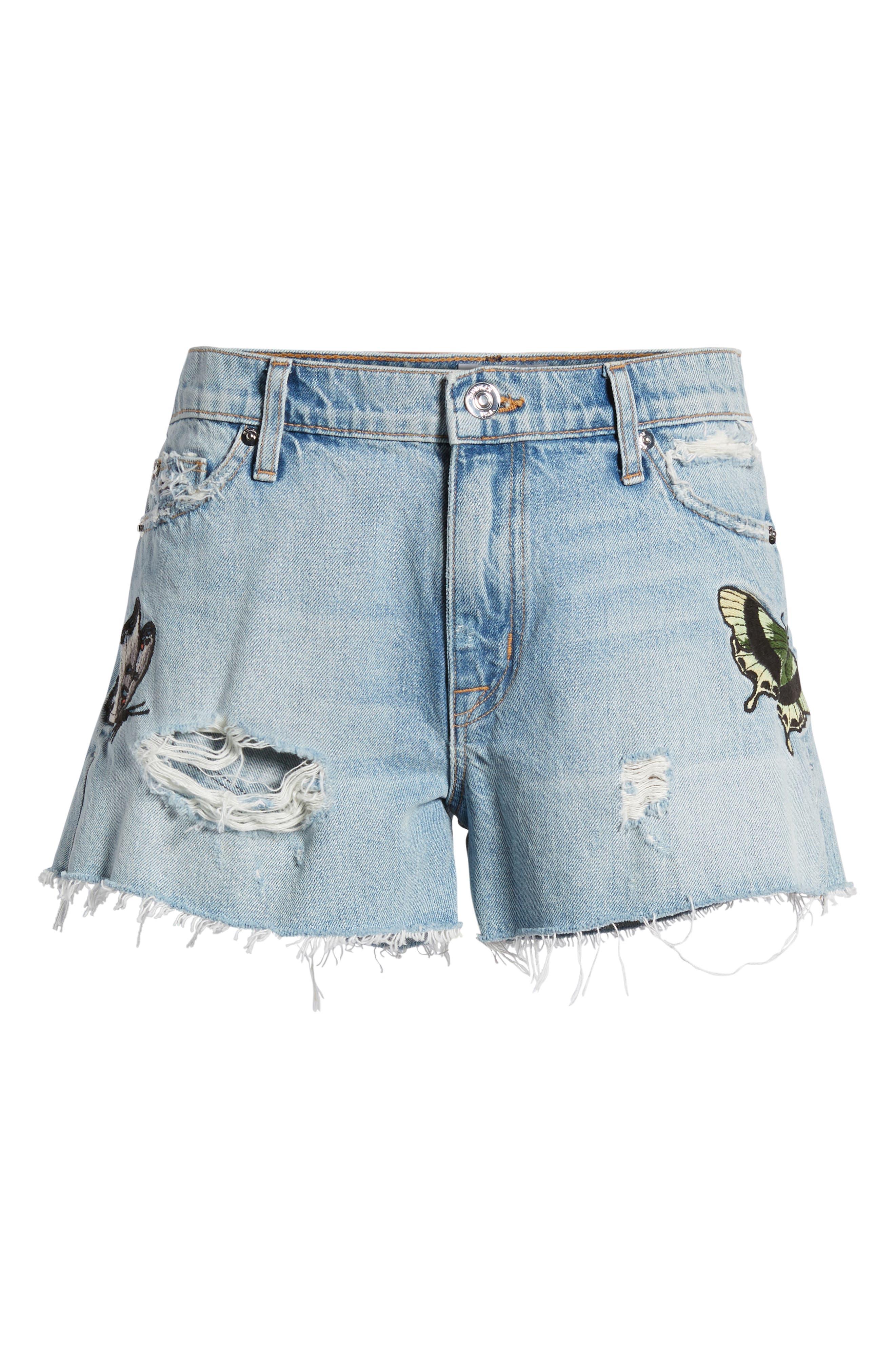 Sade Cutoff Denim Shorts,                             Alternate thumbnail 7, color,                             Monarch