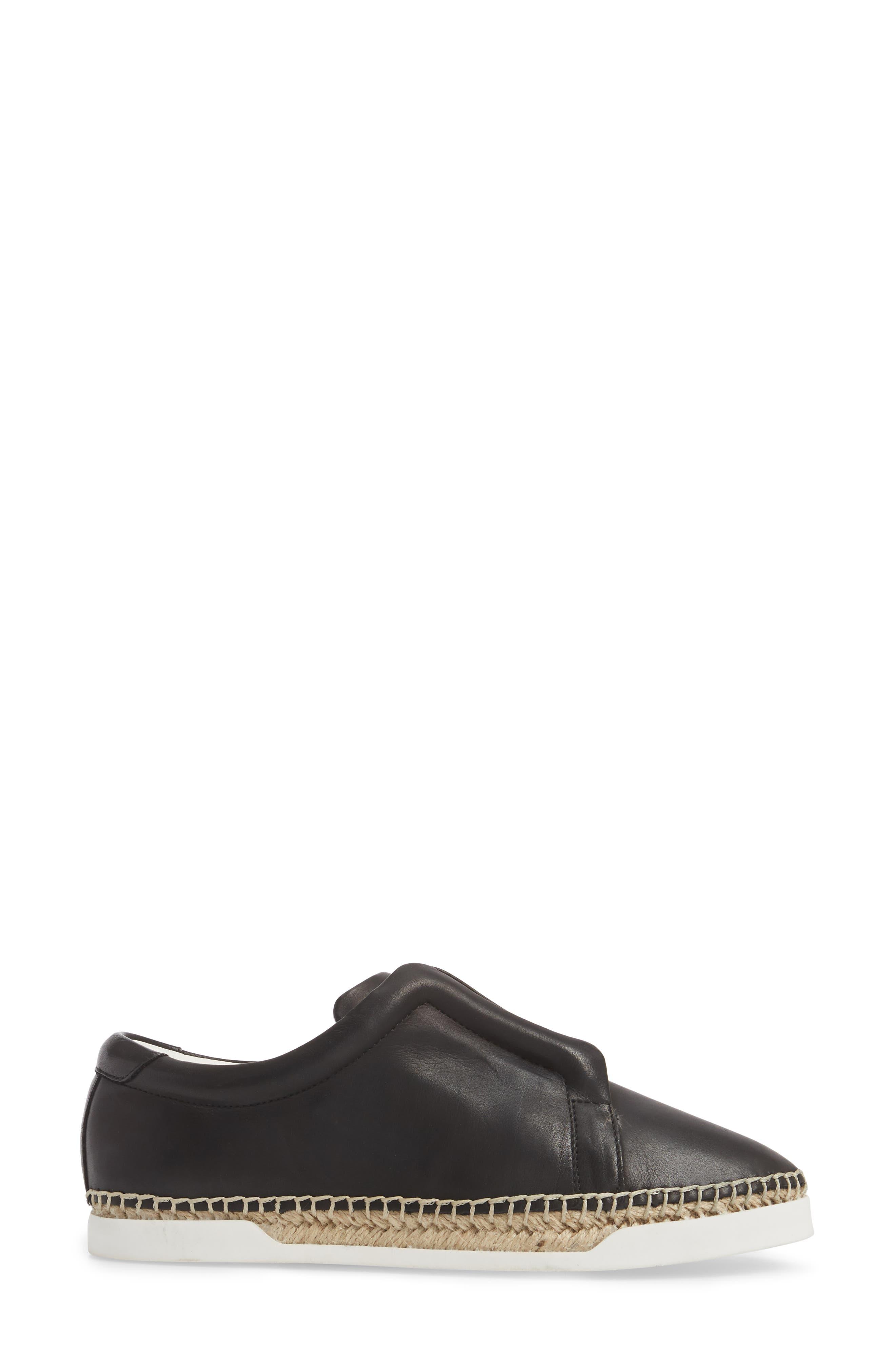 M4D3 Elizabeth Espadrille Slip-On Sneaker,                             Alternate thumbnail 3, color,                             Black Leather