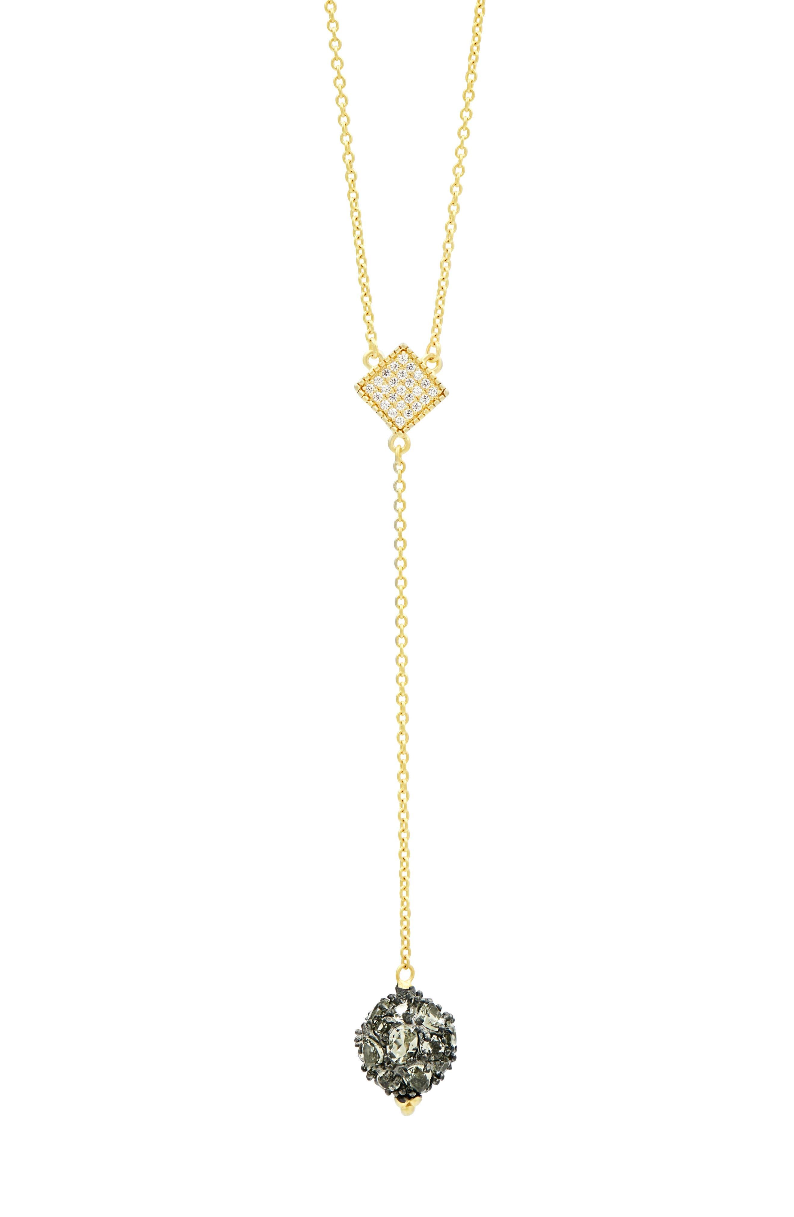 Rose Dor Y-Shape Necklace,                         Main,                         color, Black/ Gold