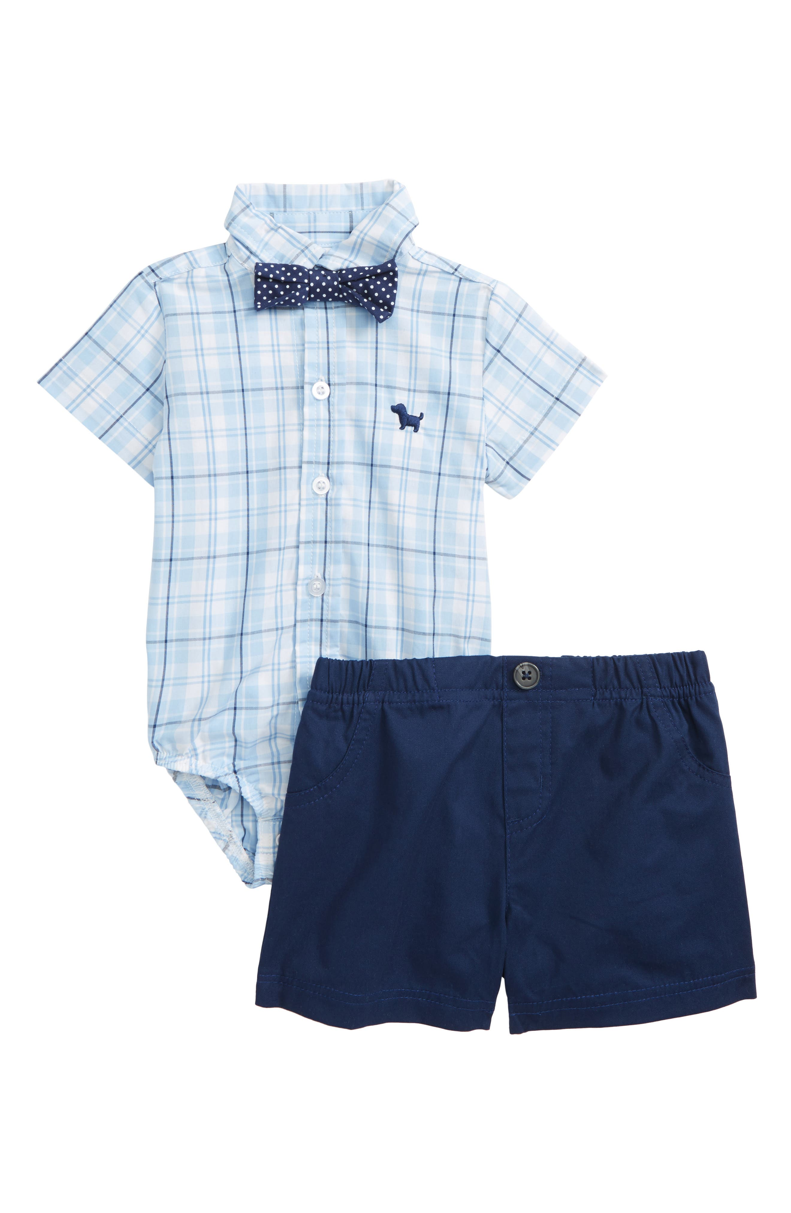 Check Bodysuit, Bow Tie & Shorts Set,                             Main thumbnail 1, color,                             Navy