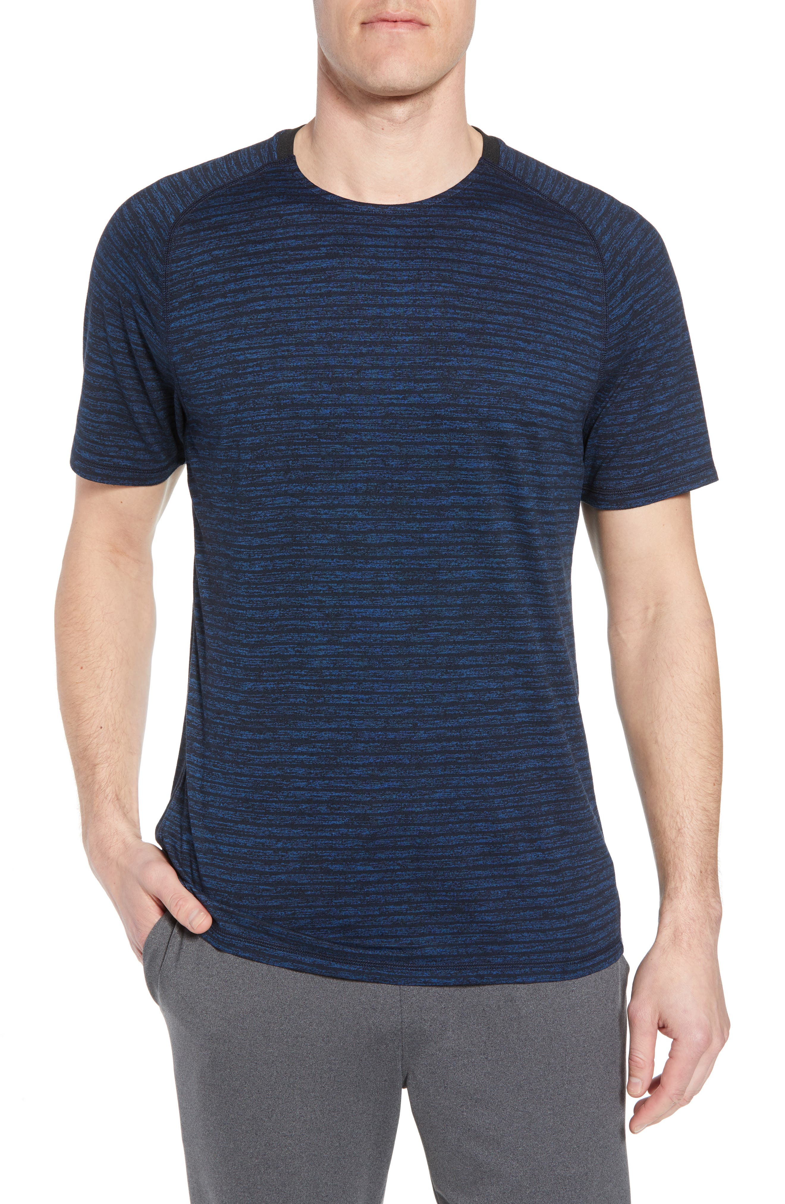 Stripe Crewneck T-Shirt,                             Main thumbnail 1, color,                             Blue Iolite Stripe