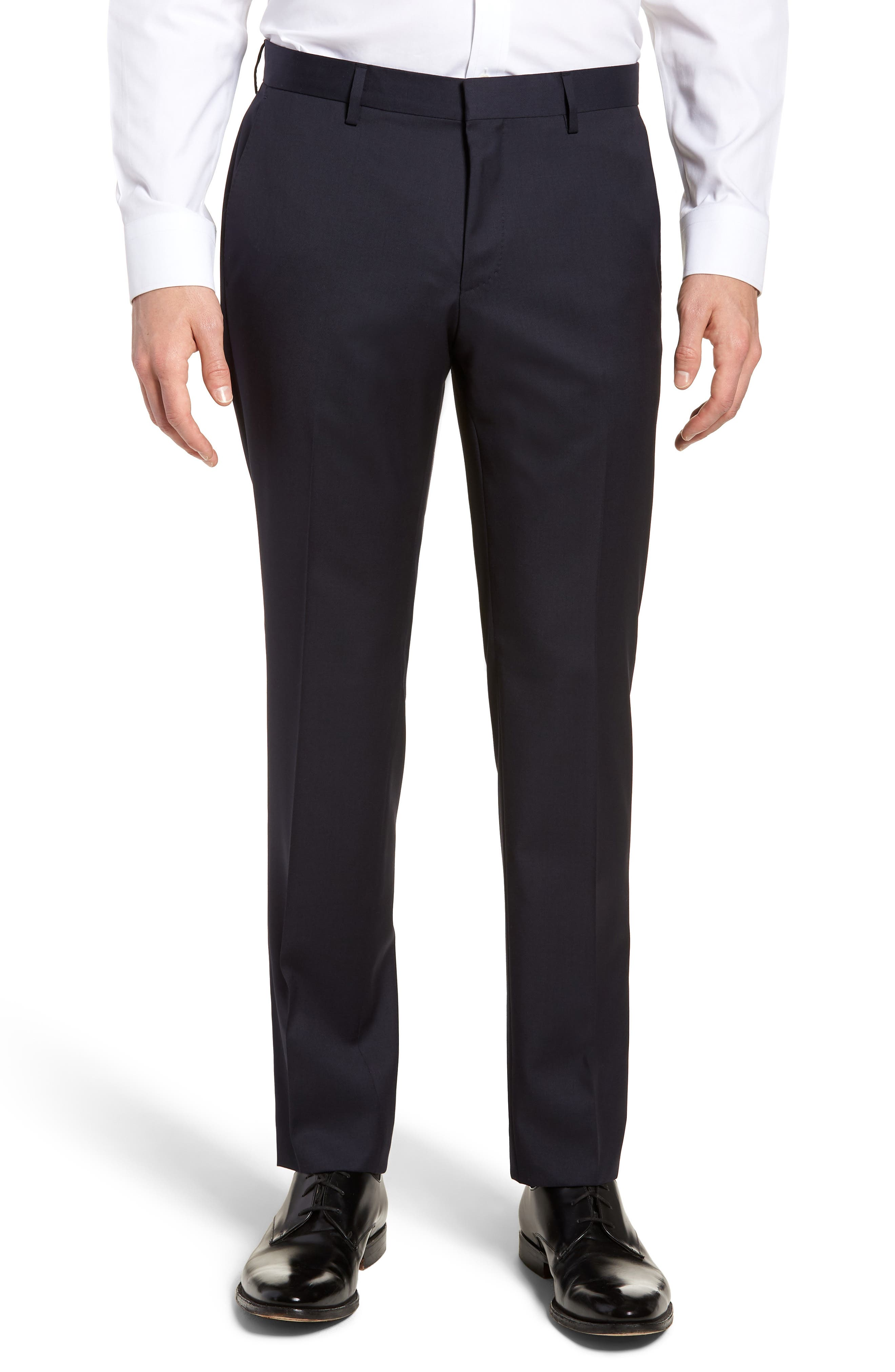 BOSS Gibson CYL Flat Front Solid Wool Trousers