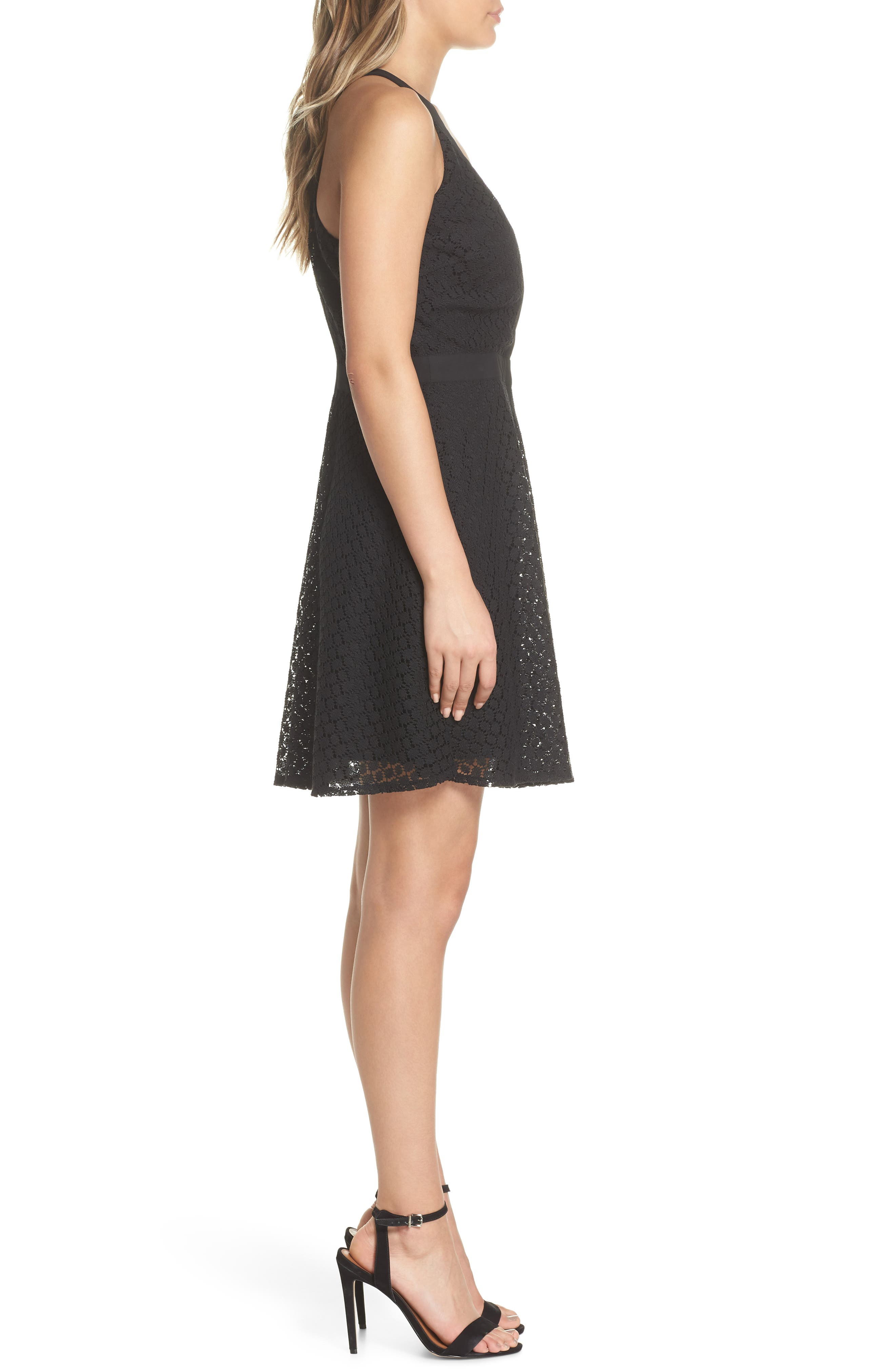 Lace Halter Dress,                             Alternate thumbnail 3, color,                             Black