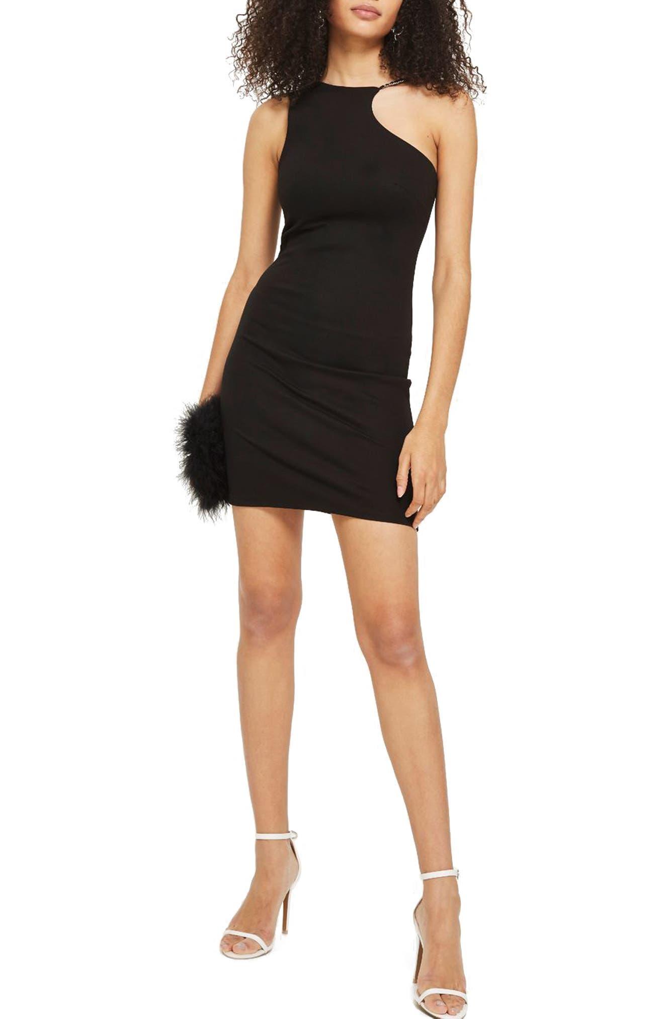 Chain Curve Mini Body-Con Dress,                             Main thumbnail 1, color,                             Black Multi