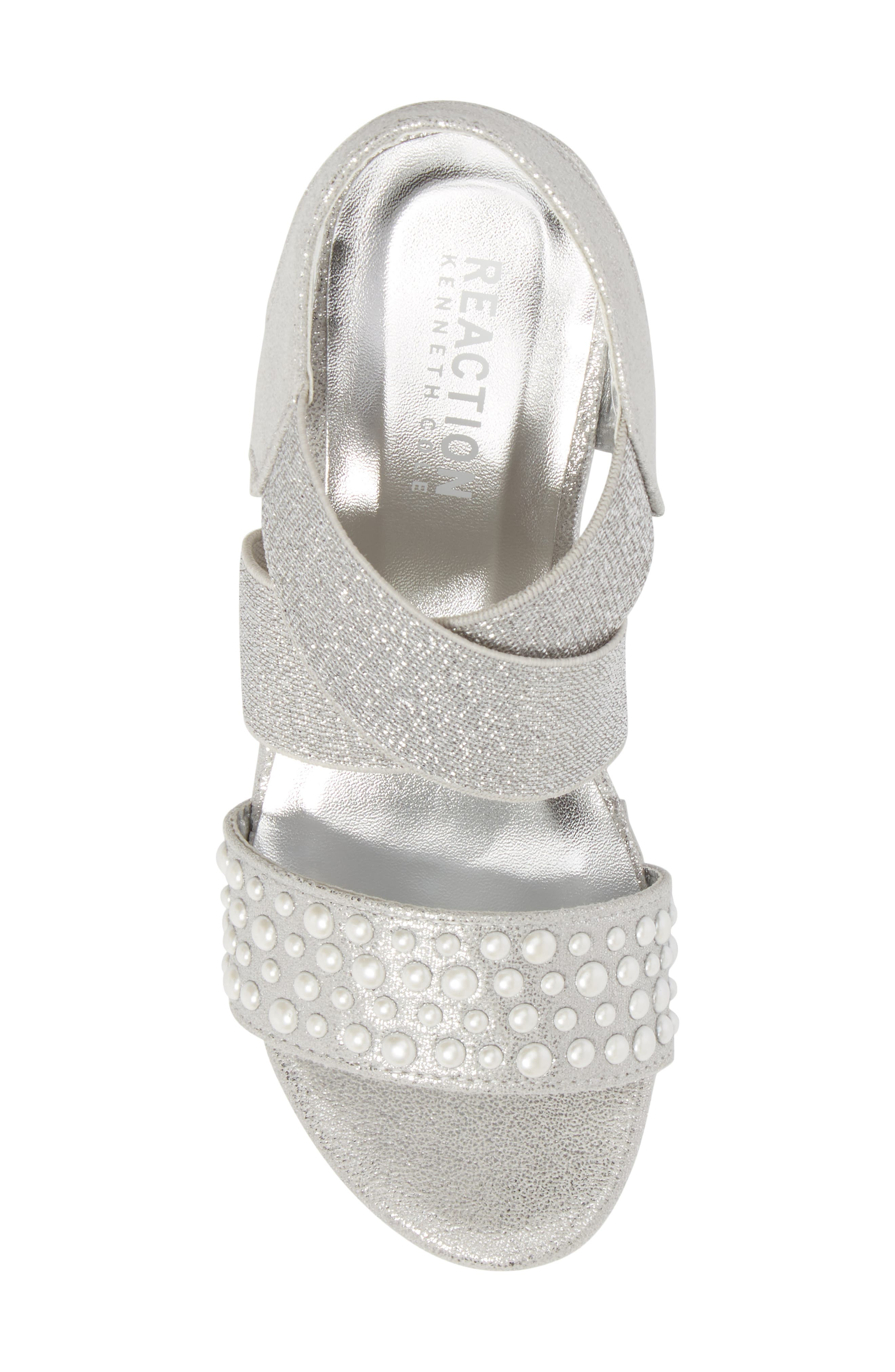 Reed Glimmer Wedge Sandal,                             Alternate thumbnail 5, color,                             Silver