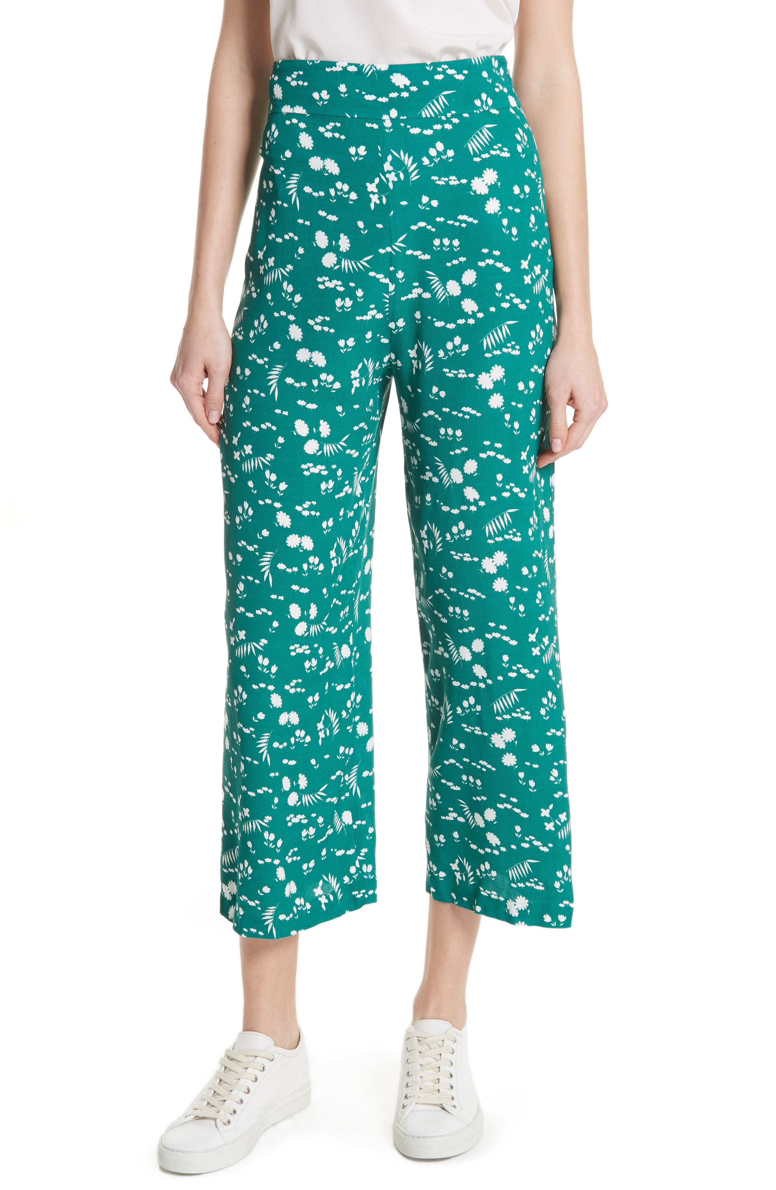 maje Floral Print Crop Pants (Nordstrom Exclusive)